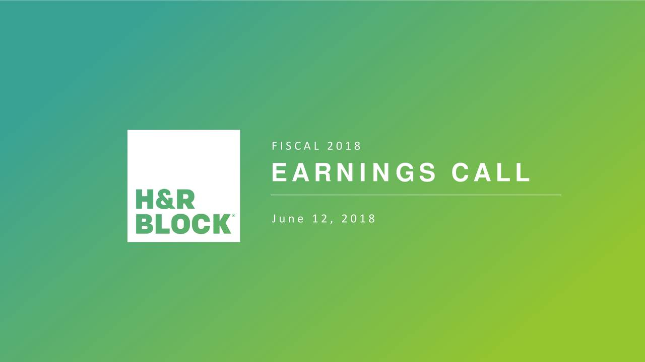 EARNINGS CALL PROVIDING THE BEST SOLUTIONS June 12, 2018