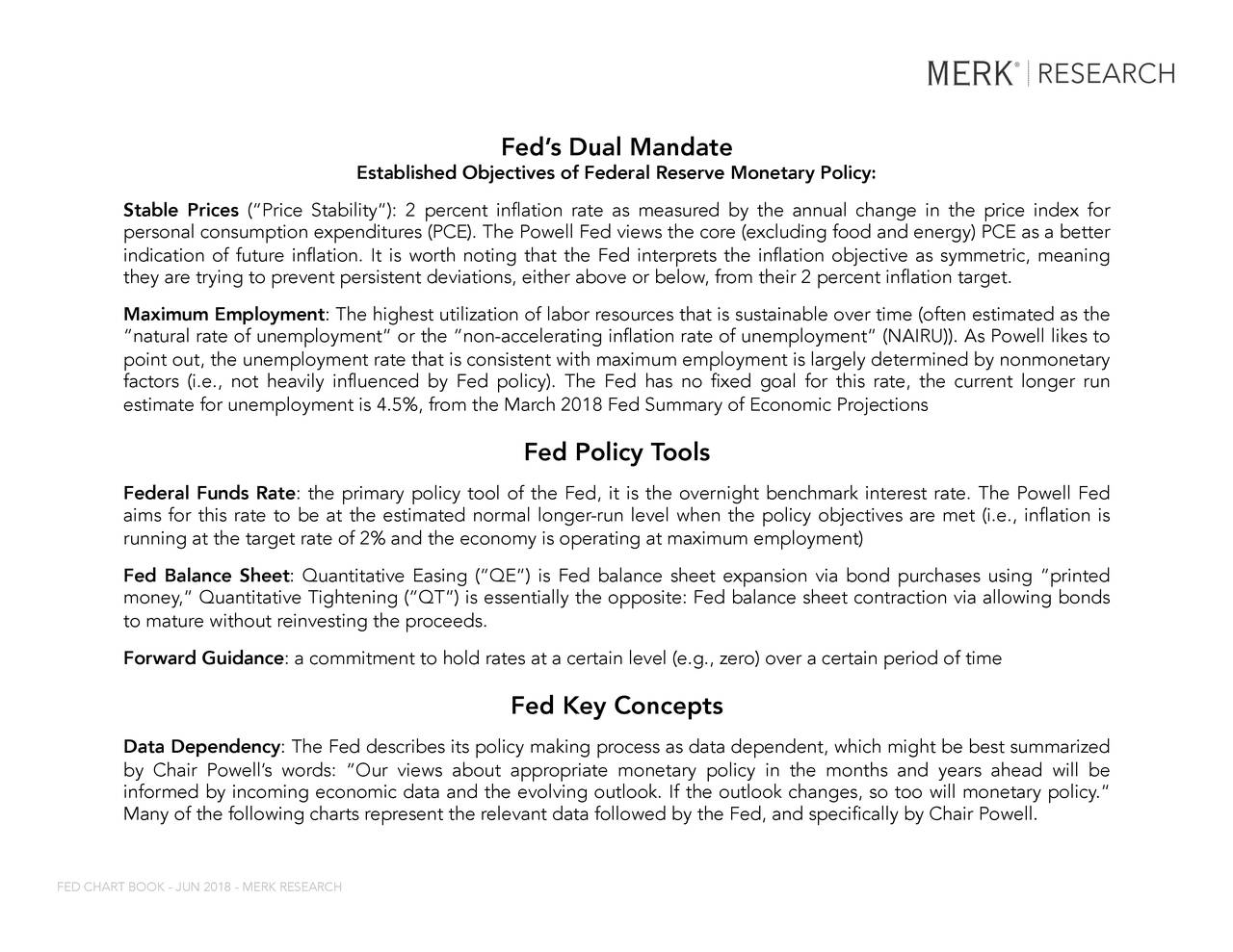 """Established Objectives of Federal Reserve Monetary Policy: Stable Prices (""""Price Stability""""): 2 percent inflation rate as measured by the annual change in the price index for personal consumption expenditures (PCE). The Powell Fed views the core (excluding food and energy) PCE as a better indication of future inflation. It is worth noting that the Fed interprets the inflation objective as symmetric, meaning they are trying to prevent persistent deviations, either above or below, from their 2 percent inflation target. Maximum Employment: The highest utilization of labor resources that is sustainable over time (often estimated as the """"natural rate of unemployment"""" or the """"non-accelerating inflation rate of unemployment"""" (NAIRU)). As Powell likes to point out, the unemployment rate that is consistent with maximum employment is largely determined by nonmonetary factors (i.e., not heavily influenced by Fed policy). The Fed has no fixed goal for this rate, the current longer run estimate for unemployment is 4.5%, from the March 2018 Fed Summary of Economic Projections Fed Policy Tools Federal Funds Rate: the primary policy tool of the Fed, it is the overnight benchmark interest rate. The Powell Fed aims for this rate to be at the estimated normal longer-run level when the policy objectives are met (i.e., inflation is running at the target rate of 2% and the economy is operating at maximum employment) Fed Balance Sheet: Quantitative Easing (""""QE"""") is Fed balance sheet expansion via bond purchases using """"printed money,"""" Quantitative Tightening (""""QT"""") is essentially the opposite: Fed balance sheet contraction via allowing bonds to mature without reinvesting the proceeds. Forward Guidance: a commitment to hold rates at a certain level (e.g., zero) over a certain period of time Fed Key Concepts Data Dependency: The Fed describes its policy making process as data dependent, which might be best summarized by Chair Powell's words: """"Our views about appropriate monetary policy in th"""