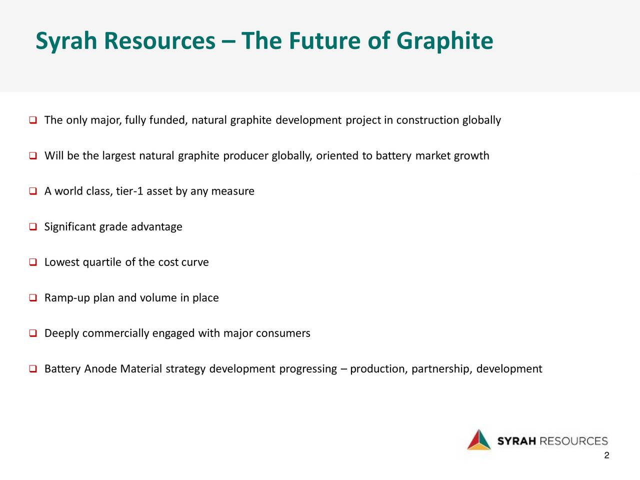 The only major, fully funded, natural graphite development project in construction globally Will be the largest natural graphite producer globally, oriented to battery market growth A world class, tier-1 asset by any measure Significant grade advantage Lowest quartile of the cost curve Ramp-up plan and volume in place Deeply commercially engaged with major consumers Battery Anode Material strategy development progressing  production, partnership, development 22 2