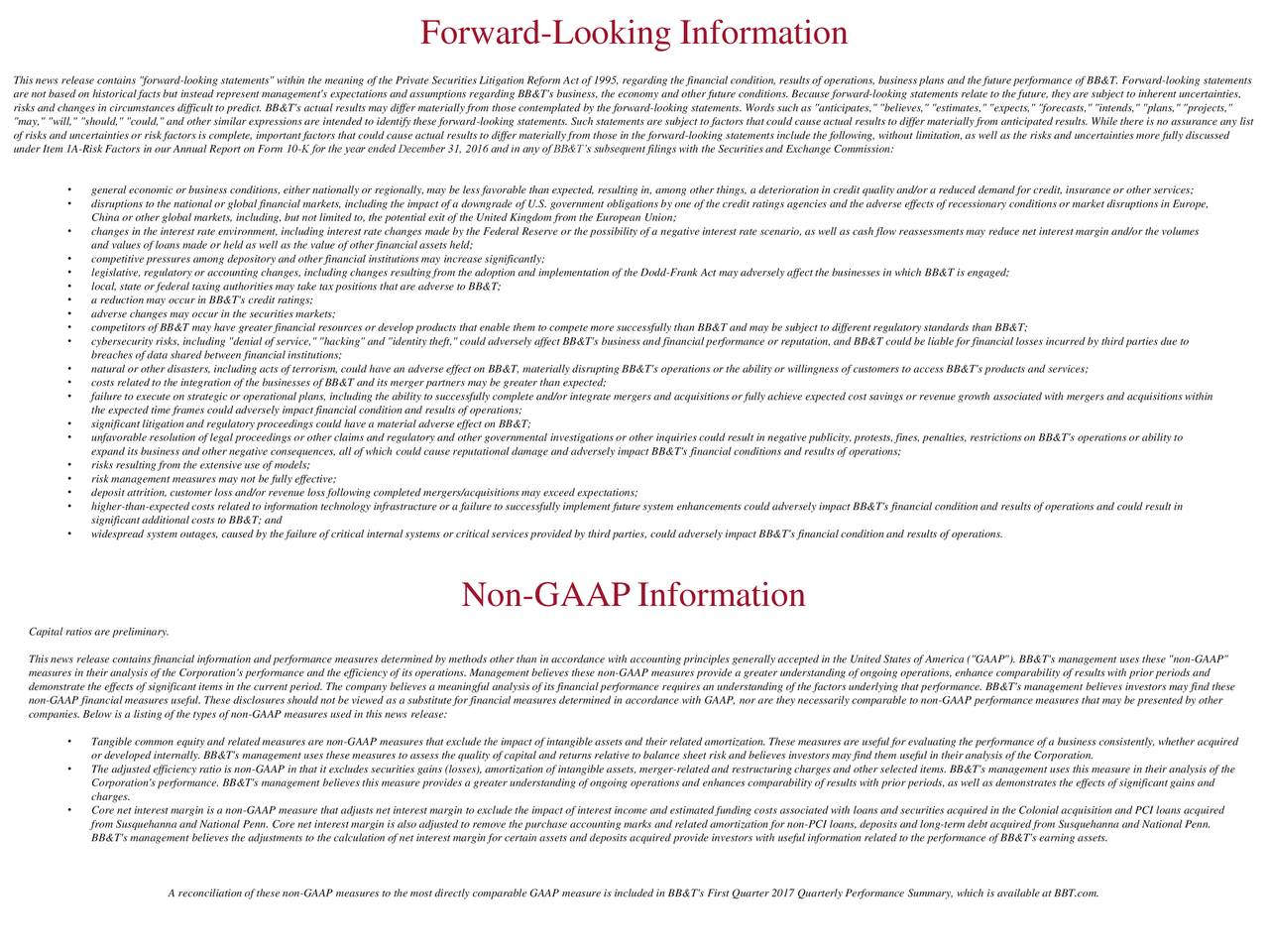 "This news release contains ""forward-looking statements"" within the meaning of the Private Securities Litigation Reform Act of 1995, regarding the financial condition, results of operations, business plans and the future performance of BB&T. Forward-looking statements are not based on historical facts but instead represent management's expectations and assumptions regarding BB&T's business, the economy and other future conditions. Because forward-looking statements relate to the future, they are subject to inherent uncertainties, risks and changes in circumstances difficult to predict. BB&T's actual results may differ materially from those contemplated by the forward-looking statements. Words such as ""anticipates,"" ""believes,"" ""estimates,"" ""expects,"" ""forecasts,"" ""intends,"" ""plans,"" ""projects,"" ""may,"" ""will,"" ""should,"" ""could,"" and other similar expressions are intended to identify these forward-looking statements. Such statements are subject to factors that could cause actual results to differ materially from anticipated results. While there is no assurance any list of risks and uncertainties or risk factors is complete, important factors that could cause actual results to differ materially from those in the forward-looking statements include the following, without limitation, as well as the risks and uncertainties more fully discussed under Item 1A-Risk Factors in our Annual Report on Form 10-K for the year ended December 31, 2016 and in any of BB&Ts subsequent filings with the Securities and Exchange Commission: general economic or business conditions, either nationally or regionally, may be less favorable than expected, resulting in, among other things, a deterioration in credit quality and/or a reduced demand for credit, insurance or other services; disruptions to the national or global financial markets, including the impact of a downgrade of U.S. government obligations by one of the credit ratings agencies and the adverse effects of recessionary conditions or market disruptions in Europe, China or other global markets, including, but not limited to, the potential exit of the United Kingdom from the European Union; changes in the interest rate environment, including interest rate changes made by the Federal Reserve or the possibility of a negative interest rate scenario, as well as cash flow reassessments may reduce net interest margin and/or the volumes and values of loans made or held as well as the value of other financial assets held; competitive pressures among depository and other financial institutions may increase significantly; legislative, regulatory or accounting changes, including changes resulting from the adoption and implementation of the Dodd-Frank Act may adversely affect the businesses in which BB&T is engaged; local, state or federal taxing authorities may take tax positions that are adverse to BB&T; a reduction may occur in BB&T's credit ratings; adverse changes may occur in the securities markets; competitors of BB&T may have greater financial resources or develop products that enable them to compete more successfully than BB&T and may be subject to different regulatory standards than BB&T; cybersecurity risks, including ""denial of service,"" ""hacking"" and ""identity theft,"" could adversely affect BB&T's business and financial performance or reputation, and BB&T could be liable for financial losses incurred by third parties due to breaches of data shared between financial institutions; natural or other disasters, including acts of terrorism, could have an adverse effect on BB&T, materially disrupting BB&T's operations or the ability or willingness of customers to access BB&T's products and services; costs related to the integration of the businesses of BB&T and its merger partners may be greater than expected; failure to execute on strategic or operational plans, including the ability to successfully complete and/or integrate mergers and acquisitions or fully achieve expected cost savings or revenue growth associated with mergers and acquisitions within the expected time frames could adversely impact financial condition and results of operations; significant litigation and regulatory proceedings could have a material adverse effect on BB&T; unfavorable resolution of legal proceedings or other claims and regulatory and other governmental investigations or other inquiries could result in negative publicity, protests, fines, penalties, restrictions on BB&T's operations or ability to expand its business and other negative consequences, all of which could cause reputational damage and adversely impact BB&T's financial conditions and results of operations; risks resulting from the extensive use of models; risk management measures may not be fully effective; deposit attrition, customer loss and/or revenue loss following completed mergers/acquisitions may exceed expectations; higher-than-expected costs related to information technology infrastructure or a failure to successfully implement future system enhancements could adversely impact BB&T's financial condition and results of operations and could result in significant additional costs to BB&T; and widespread system outages, caused by the failure of critical internal systems or critical services provided by third parties, could adversely impact BB&T's financial condition and results of operations. Non-GAAPInformation Capital ratios are preliminary. This news release contains financial information and performance measures determined by methods other than in accordance with accounting principles generally accepted in the United States of America (""GAAP""). BB&T's management uses these ""non-GAAP"" measures in their analysis of the Corporation's performance and the efficiency of its operations. Management believes these non-GAAP measures provide a greater understanding of ongoing operations, enhance comparability of results with prior periods and demonstrate the effects of significant items in the current period. The company believes a meaningful analysis of its financial performance requires an understanding of the factors underlying that performance. BB&T's management believes investors may find these non-GAAP financial measures useful. These disclosures should not be viewed as a substitute for financial measures determined in accordance with GAAP, nor are they necessarily comparable to non-GAAP performance measures that may be presented by other companies. Below is a listing of the types of non-GAAP measures used in this news release: Tangible common equity and related measures are non-GAAP measures that exclude the impact of intangible assets and their related amortization. These measures are useful for evaluating the performance of a business consistently, whether acquired or developed internally. BB&T's management uses these measures to assess the quality of capital and returns relative to balance sheet risk and believes investors may find them useful in their analysis of the Corporation. The adjusted efficiency ratio is non-GAAP in that it excludes securities gains (losses), amortization of intangible assets, merger-related and restructuring charges and other selected items. BB&T's management uses this measure in their analysis of the Corporation's performance. BB&T's management believes this measure provides a greater understanding of ongoing operations and enhances comparability of results with prior periods, as well as demonstrates the effects of significant gains and charges. Core net interest margin is a non-GAAP measure that adjusts net interest margin to exclude the impact of interest income and estimated funding costs associated with loans and securities acquired in the Colonial acquisition and PCI loans acquired from Susquehanna and National Penn. Core net interest margin is also adjusted to remove the purchase accounting marks and related amortization for non-PCI loans, deposits and long-term debt acquired from Susquehanna and National Penn. BB&T's management believes the adjustments to the calculation of net interest margin for certain assets and deposits acquired provide investors with useful information related to the performance of BB&T's earning assets. A reconciliation of these non-GAAP measures to the most directly comparable GAAP measure is included in BB&T's First Quarter 2017 Quarterly Performance Summary, which is available at BBT.com."