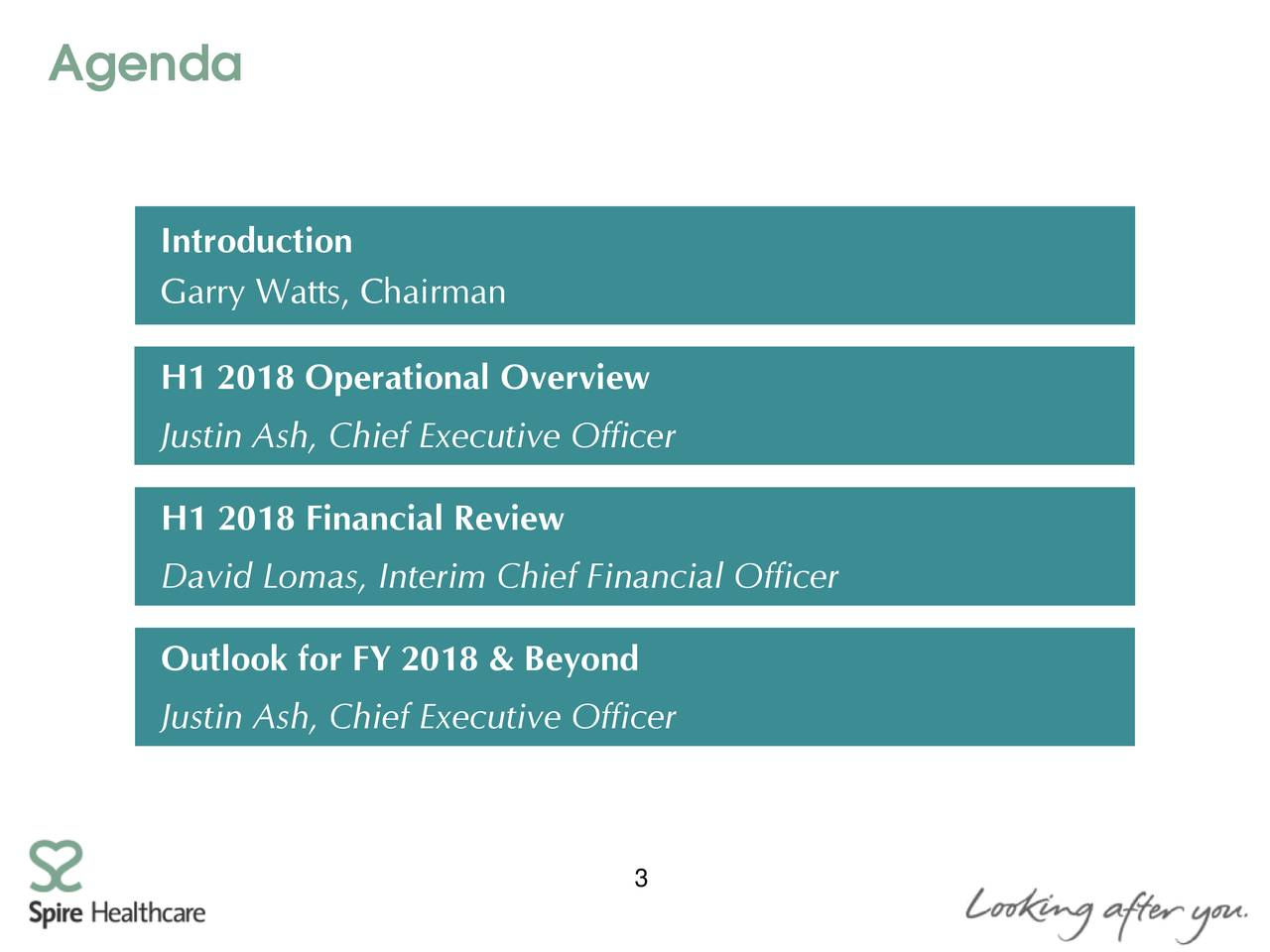 Introduction Garry Watts, Chairman H1 2018 Operational Overview Justin Ash, Chief Executive Officer H1 2018 Financial Review David Lomas, Interim Chief Financial Officer Outlook for FY 2018 & Beyond Justin Ash, Chief Executive Officer 3