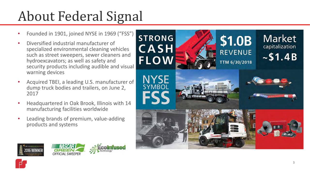 """• Founded in 1901, joined NYSE in 1969 (""""FSS"""") • Diversified industrial manufacturer of specialized environmental cleaning vehicles such as street sweepers, sewer cleaners and hydroexcavators; as well as safety and security products including audible and visual warning devices • Acquired TBEI, a leading U.S. manufacturer of dump truck bodies and trailers, on June 2, 2017 • Headquartered in Oak Brook, Illinois with 14 man ufacturing facilities worldwide • Leading brands of premium, value-ad ding products and systems 3"""