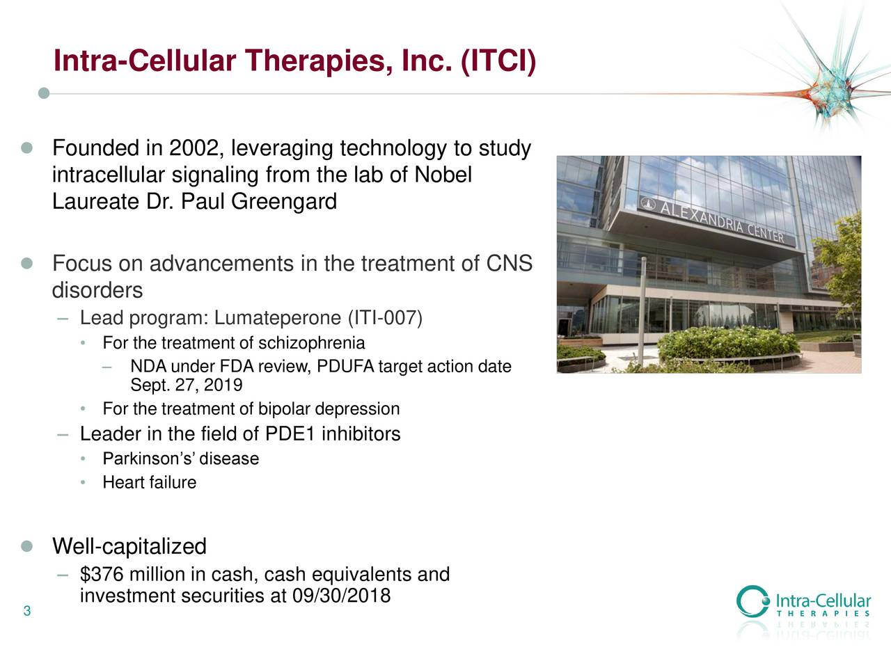 ● Founded in 2002, leveraging technology to study intracellular signaling from the lab of Nobel Laureate Dr. Paul Greengard ● Focus on advancements in the treatment of CNS disorders – Lead program: Lumateperone (ITI-007) • For the treatment of schizophrenia – NDA under FDA review, PDUFA target action date Sept. 27, 2019 • For the treatment of bipolar depression – Leader in the field of PDE1 inhibitors • Parkinson's' disease • Heart failure ● Well-capitalized – $376 million in cash, cash equivalents and 3 investment securities at 09/30/2018