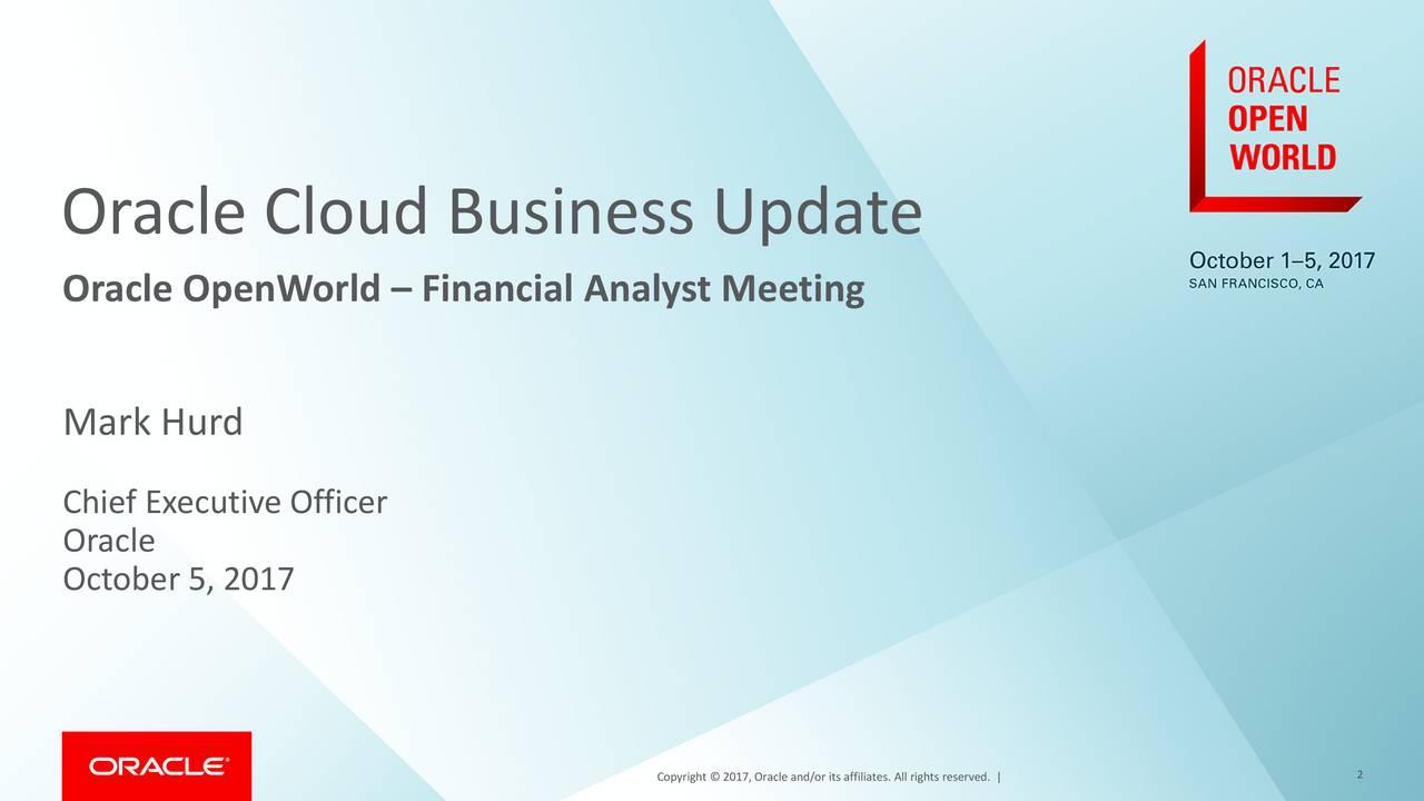 Oracle Cloud Business Update