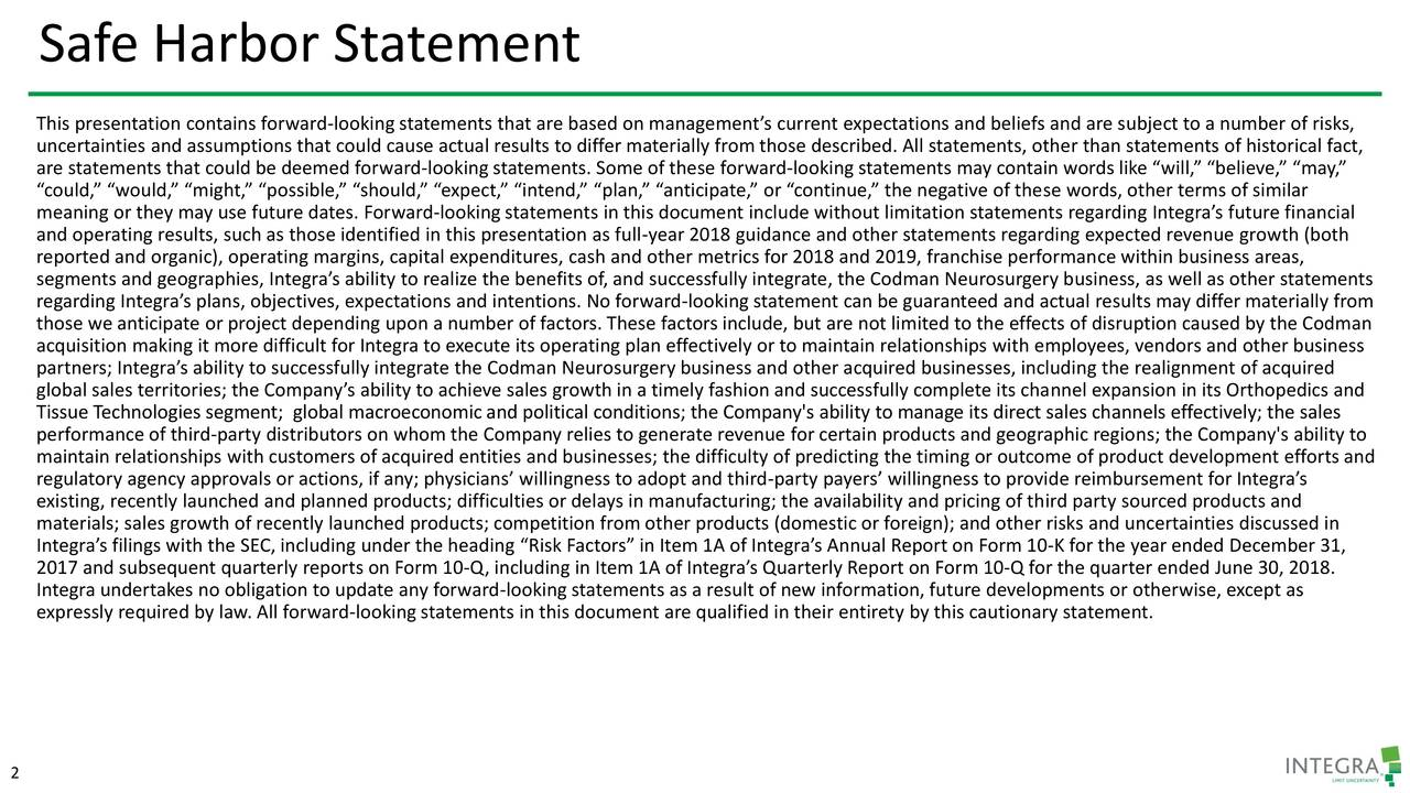 """This presentation contains forward-looking statements that are based on management's current expectations and beliefs and are subject to a number of risks, uncertainties and assumptions that could cause actual results to differ materially from those described. All statements, other than statements of historical fact, are statements that could be deemed forward-looking statements. Some of these forward-looking statements may contain words like """"will,"""" """"believe,"""" """"may,"""" """"could,"""" """"would,"""" """"might,"""" """"possible,"""" """"should,"""" """"expect,"""" """"intend,"""" """"plan,"""" """"anticipate,"""" or """"continue,"""" the negative of these words, other terms of similar meaning or they may use future dates. Forward-looking statements in this document include without limitation statements regarding Integra's future financial and operating results, such as those identified in this presentation as full-year 2018 guidance and other statements regarding expected revenue growth (both reported and organic), operating margins, capital expenditures, cash and other metrics for 2018 and 2019, franchise performance within business areas, segments and geographies, Integra's ability to realize the benefits of, and successfully integrate, the Codman Neurosurgery business, as well as other statements regarding Integra's plans, objectives, expectations and intentions. No forward-looking statement can be guaranteed and actual results may differ materially from those we anticipate or project depending upon a number of factors. These factors include, but are not limited to the effects of disruption caused by the Codman acquisition making it more difficult for Integra to execute its operating plan effectively or to maintain relationships with employees, vendors and other business partners; Integra's ability to successfully integrate the Codman Neurosurgery business and other acquired businesses, including the realignment of acquired global sales territories; the Company's ability to achieve sales growth in a timely fashion and succes"""