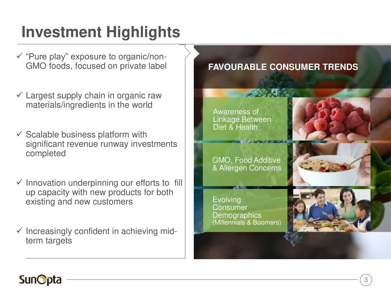 Pure play exposure to organic/non- GMO foods, focused on private label FAVOURABLE CONSUMER TRENDS Largest supply chain in organic raw materials/ingredients in the world Awareness of Linkage Between Diet & Health Scalable business platform with significant revenue runway investments completed GMO, Food Additive & Allergen Concerns Innovation underpinning our efforts to fill up capacity with new products for both existing and new customers Evolving Consumer Demographics (Millennials & Boomers) Increasingly confident in achieving mid- term targets 3
