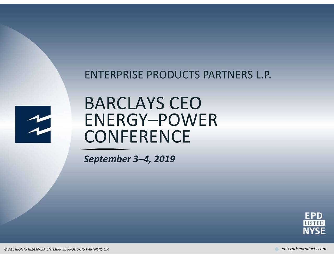 Enterprise Products Partners (EPD) Presents At Barclays CEO