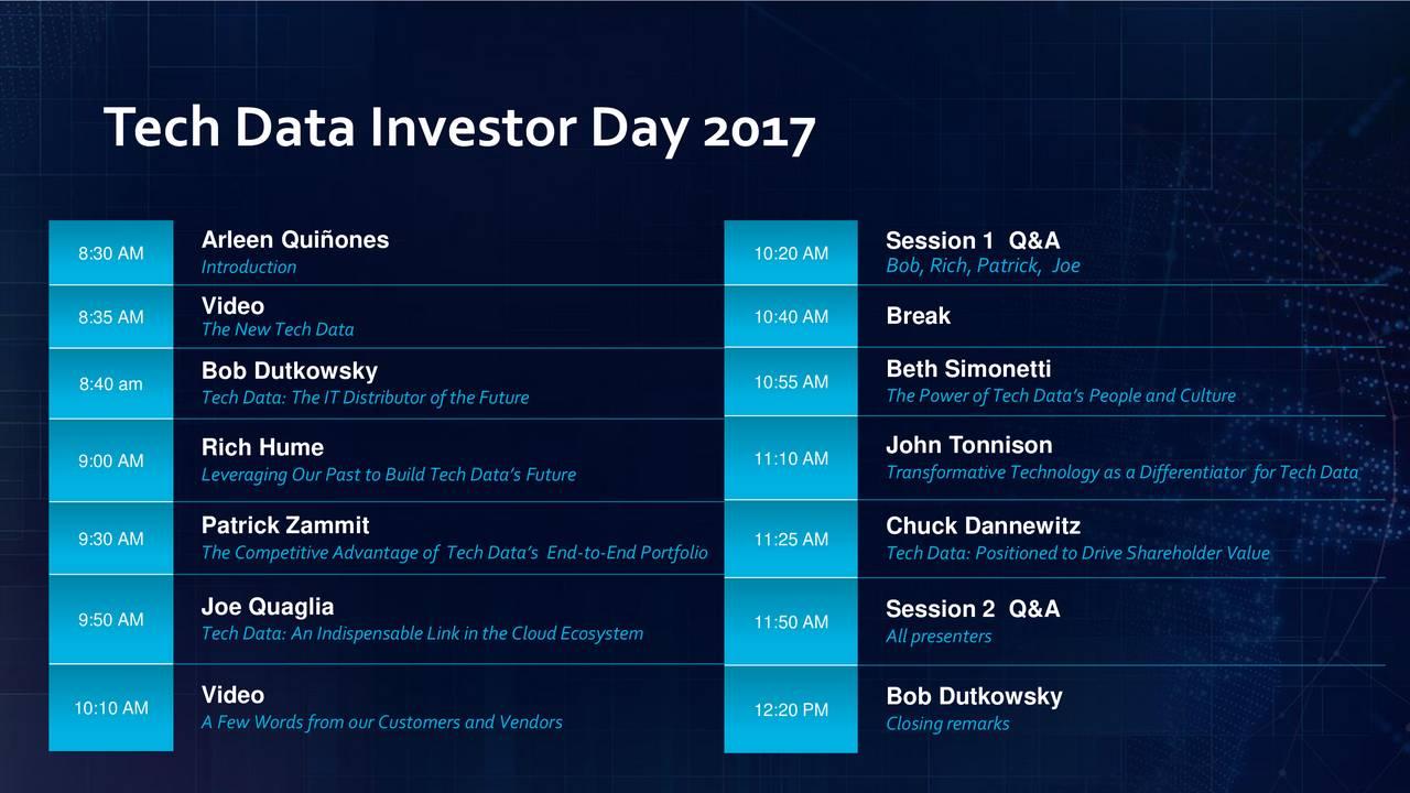 tech data tecd investor presentation slideshow tech data