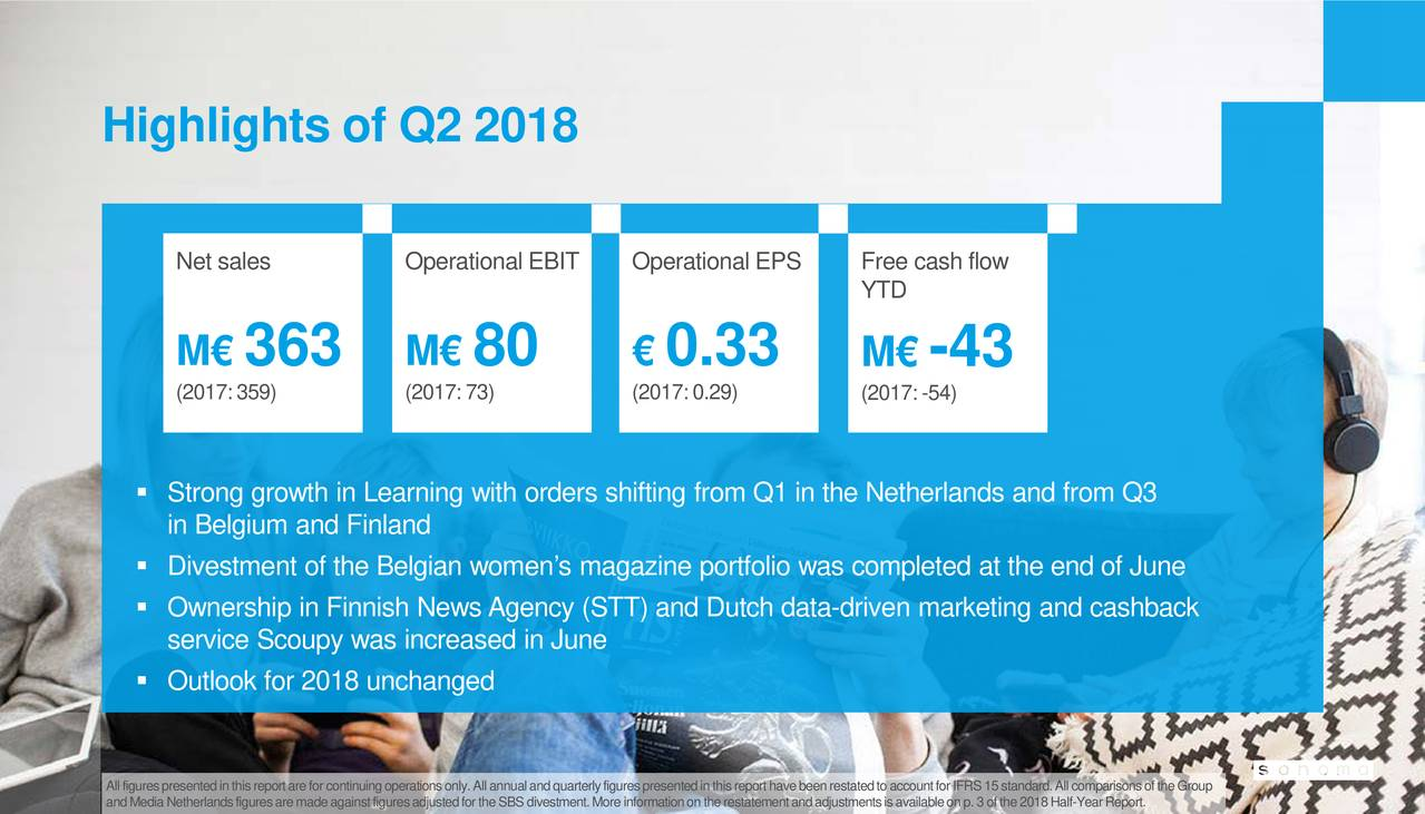 Sanoma corp adr 2018 q2 results earnings call slides for Sanoma magazines belgium