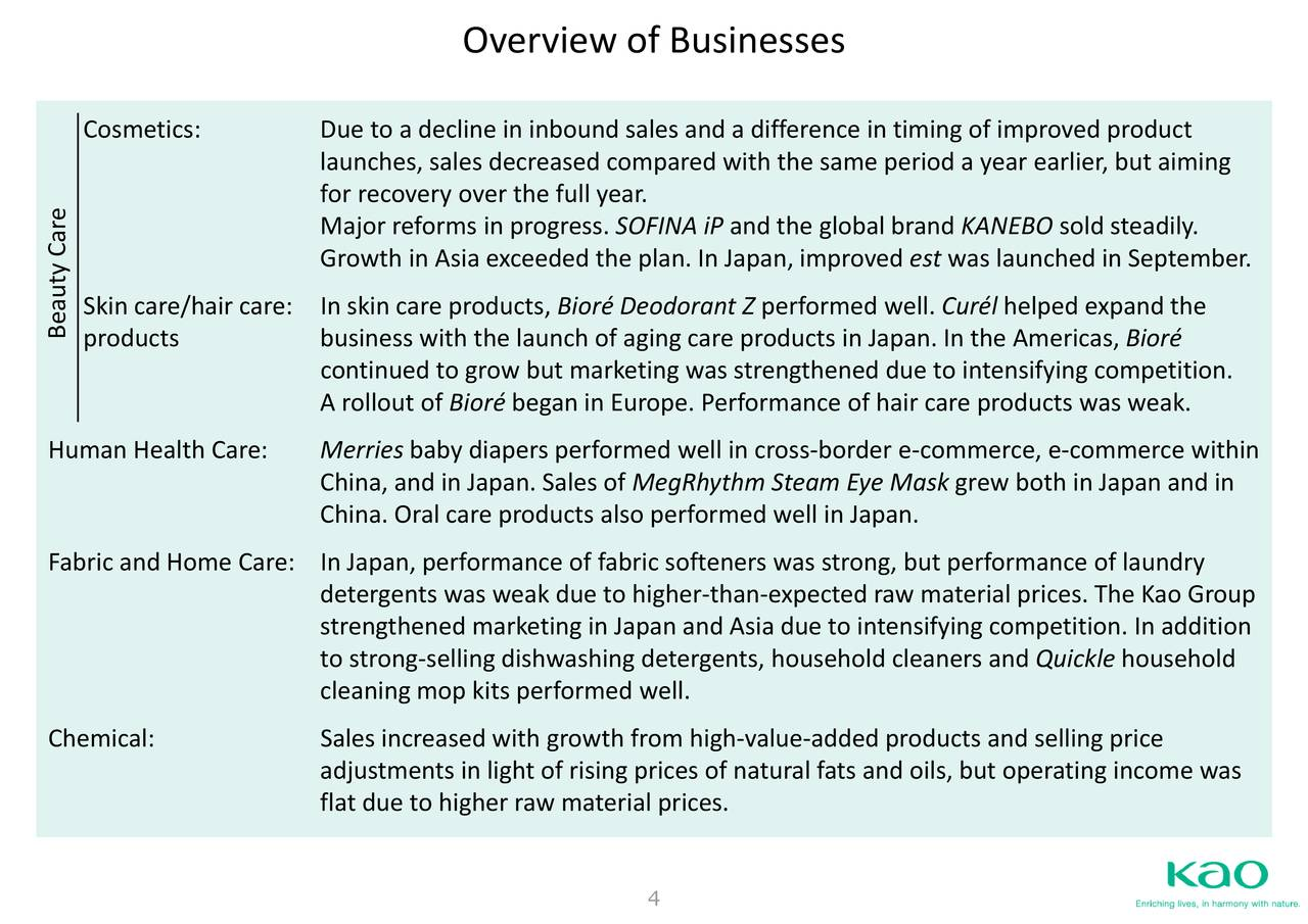 Kao Corp  ADR 2017 Q3 - Results - Earnings Call Slides - Kao