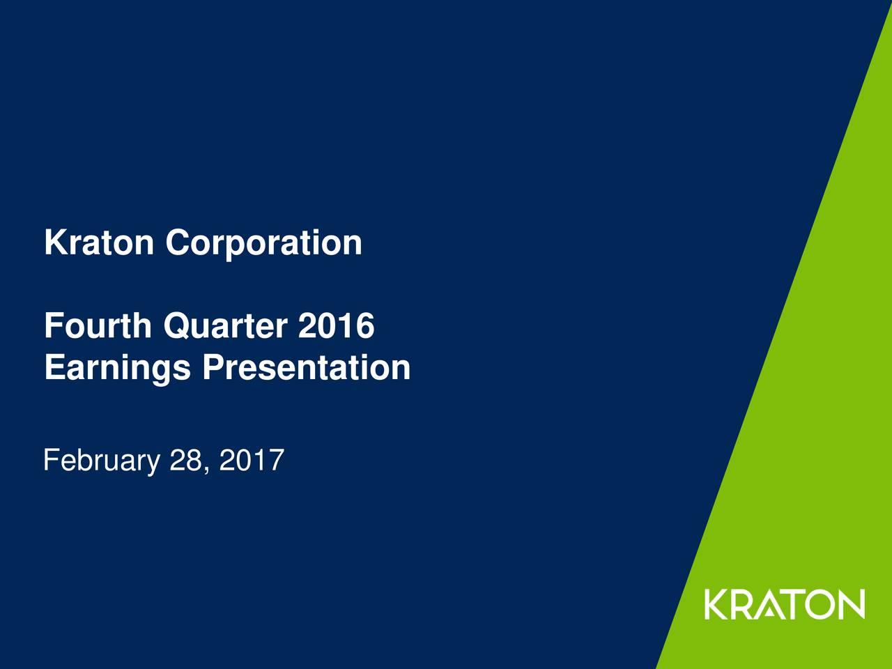 Fourth Quarter 2016 Earnings Presentation February 28, 2017