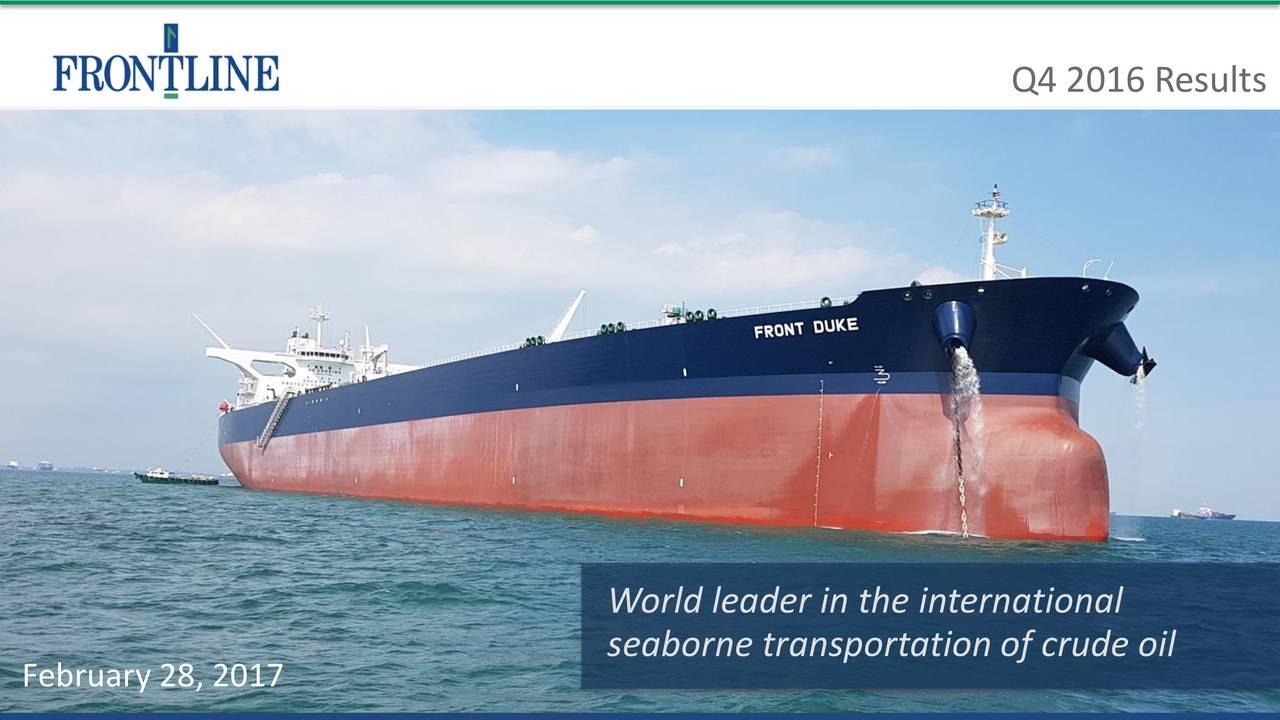 World leader in the international seaborne transportation of crude oil February 28, 2017