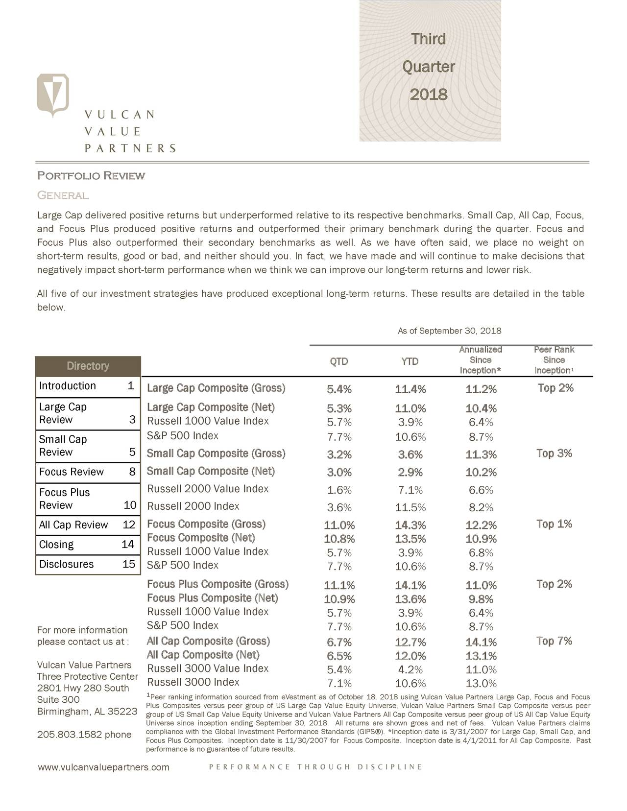 Quarter 2018 Portfolio Review General Large Cap delivered positive returns but underperformed relative to its respective benchmarks. Small Cap, All Cap, Focus, and Focus Plus produced positive returns and outperformed their primary benchmark during the quarter. Focus and Focus Plus also outperformed their secondary benchmarks as well. As we have often said, we place no weight on short-term results, good or bad, and neither should you. In fact, we have made and will continue to make decisions that negatively impact short-term performance when we think we can improve our long-term returns and lower risk. All five of our investment strategies have produced exceptional long-term returns. These results are detailed in the table below. As of September 30, 2018 Annualized Peer Rank Directory QTD YTD Since Since Inception* Incept¹on Introduction 1 Large Cap Composite (Gross) 5.4% 11.4% 11.2% Top 2% Large Cap Large Cap Composite (Net) 5.3% 11.0% 10.4% Review 3 Russell 1000 Value Index 5.7% 3.9% 6.4% Small Cap S&P 500 Index 7.7% 10.6% 8.7% Review 5 Small Cap Composite (Gross) 3.2% 3.6% 11.3% Top 3% Focus Review 8 Small Cap Composite (Net) 3.0% 2.9% 10.2% Focus Plus Russell 2000 Value Index 1.6% 7.1% 6.6% Review 10 Russell 2000 Index 3.6% 11.5% 8.2% All Cap Review 12 Focus Composite (Gross) 11.0% 14.3% 12.2% Top 1% Focus Composite (Net) 10.8% 13.5% 10.9% Closing 14 Russell 1000 Value Index 5.7% 3.9% 6.8% Disclosures 15 S&P 500 Index 7.7% 10.6% 8.7% Focus Plus Composite (Gross) 11.1% 14.1% 11.0% Top 2% Focus Plus Composite (Net) 10.9% 13.6% 9.8% Russell 1000 Value Index 5.7% 3.9% 6.4% S&P 500 Index 7.7% 10.6% 8.7% For more information please contact us at :ll Cap Composite (Gross) 6.7% 12.7% 14.1% Top 7% All Cap Composite (Net) 6.5% 12.0% 13.1% Vulcan Value PartnersRussell 3000 Value Index 5.4% 4.2% 11.0% Three Protective CentRussell 3000 Index 2801 Hwy 280 South 7.1% 10.6% 13.0% Suite 300 Plus Composites versus peer group of US Large Cap Value Equity Universe, Vulcan Value Partners Small Cap Composite versus peer Birmingham, AL 35223 group of US Small Cap Value Equity Universe and Vulcan Value Partners All Cap Composite versus peer group of US All Cap Value Equity Universe since inception ending September 30, 2018. All returns are shown gross and net of fees. Vulcan Value Partners claims 205.803.1582 phone compliance with the Global Investment Performance Standards (GIPS®). *Inception date is 3/31/2007 for Large Cap, Small Cap, and Focus Plus Composites. Inception date is 11/30/2007 for Focus Composite. Inception date is 4/1/2011 for All Cap Composite. Past performance is no guarantee of future results. www.vulcanvaluepartners.com