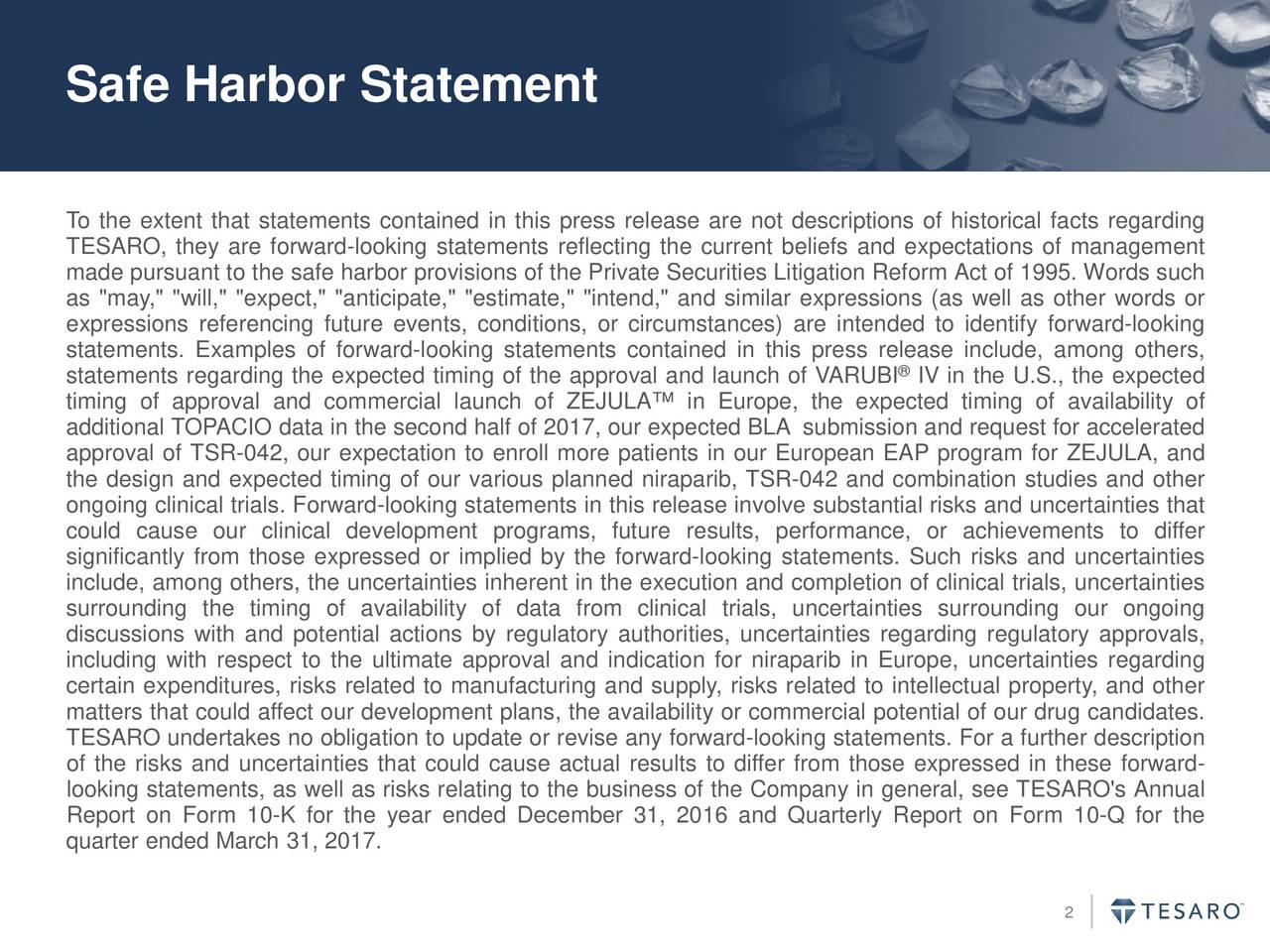 """To the extent that statements contained in this press release are not descriptions of historical facts regarding TESARO, they are forward-looking statements reflecting the current beliefs and expectations of management made pursuant to the safe harbor provisions of the Private Securities Litigation Reform Act of 1995. Words such as """"may,"""" """"will,"""" """"expect,"""" """"anticipate,"""" """"estimate,"""" """"intend,"""" and similar expressions (as well as other words or expressions referencing future events, conditions, or circumstances) are intended to identify forward-looking statements. Examples of forward-looking statements contained in this press relese include, among others, statements regarding the expected timing of the approval and launch of VARUBI IV in the U.S., the expected timing of approval and commercial launch of ZEJULA in Europe, the expected timing of availability of additional TOPACIO data in the second half of 2017, our expected BLA submission and request for accelerated approval of TSR-042, our expectation to enroll more patients in our European EAP program for ZEJULA, and the design and expected timing of our various planned niraparib, TSR-042 and combination studies and other ongoing clinical trials. Forward-looking statements in this release involve substantial risks and uncertainties that could cause our clinical development programs, future results, performance, or achievements to differ significantly from those expressed or implied by the forward-looking statements. Such risks and uncertainties include, among others, the uncertainties inherent in the execution and completion of clinical trials, uncertainties surrounding the timing of availability of data from clinical trials, uncertainties surrounding our ongoing discussions with and potential actions by regulatory authorities, uncertainties regarding regulatory approvals, including with respect to the ultimate approval and indication for niraparib in Europe, uncertainties regarding certain expenditures, risks related"""
