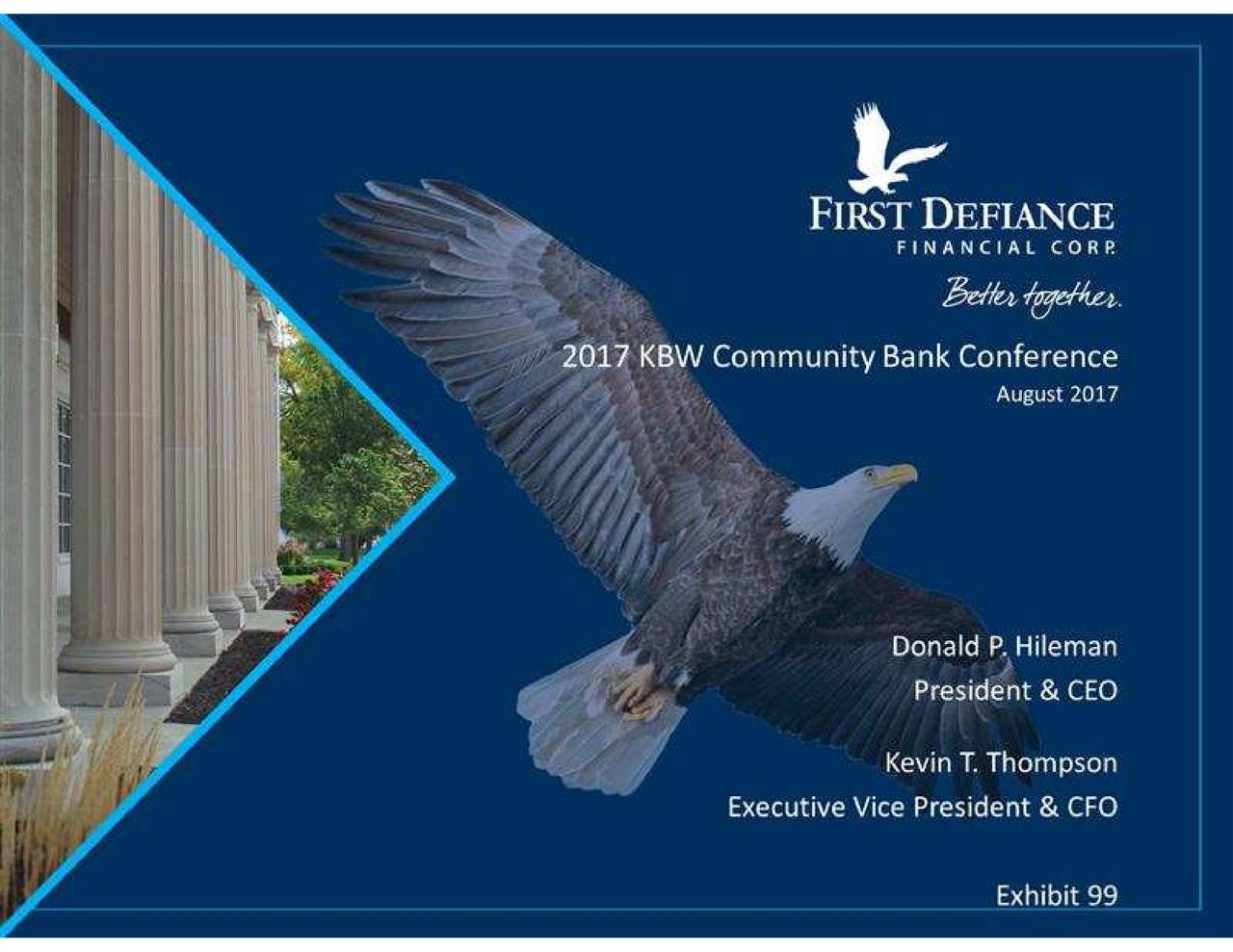 First Defiance Financial Fdef Presents At Kbw Community Bank Eagle Wing Diagram Of Bald Investor Conference Slideshow