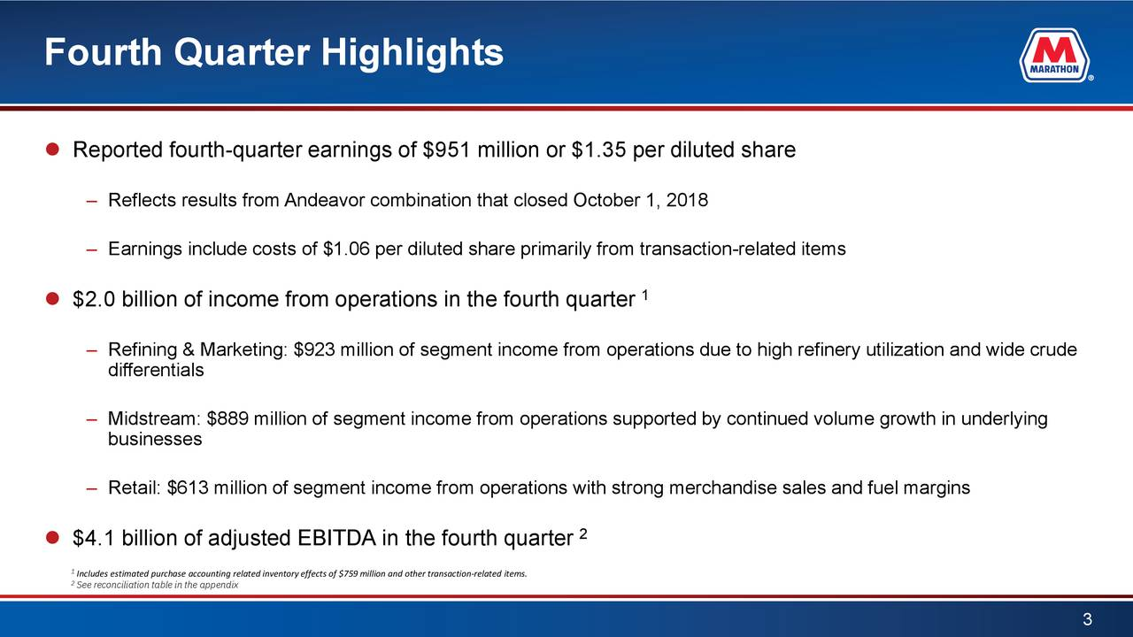  Reported fourth-quarter earnings of $951 million or $1.35 per diluted share – Reflects results from Andeavor combination that closed October 1, 2018 – Earnings include costs of $1.06 per diluted share primarily from transaction-related items 1  $2.0 billion of income from operations in the fourth quarter – Refining & Marketing: $923 million of segment income from operations due to high refinery utilization and wide crude differentials – Midstream: $889 million of segment income from operations supported by continued volume growth in underlying businesses – Retail: $613 million of segment income from operations with strong merchandise sales and fuel margins 2  $4.1 billion of adjusted EBITDA in the fourth quarter 1Includes estimated purchase accounting related inventory effects of $759million andother transaction-related items. 2See reconciliation table in the appendix 3
