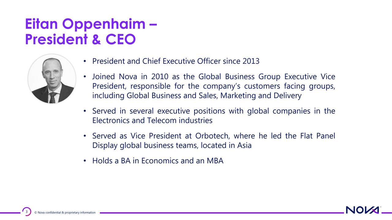 President & CEO • President and Chief Executive Officer since 2013 • Joined Nova in 2010 as the Global Business Group Executive Vice President, responsible for the company's customers facing groups, including Global Business and Sales, Marketing and Delivery • Served in several executive positions with global companies in the Electronics and Telecom industries • Served as Vice President at Orbotech, where he led the Flat Panel Display global business teams, located in Asia • Holds a BA in Economics and an MBA 3 © Nova confidential & proprietary information