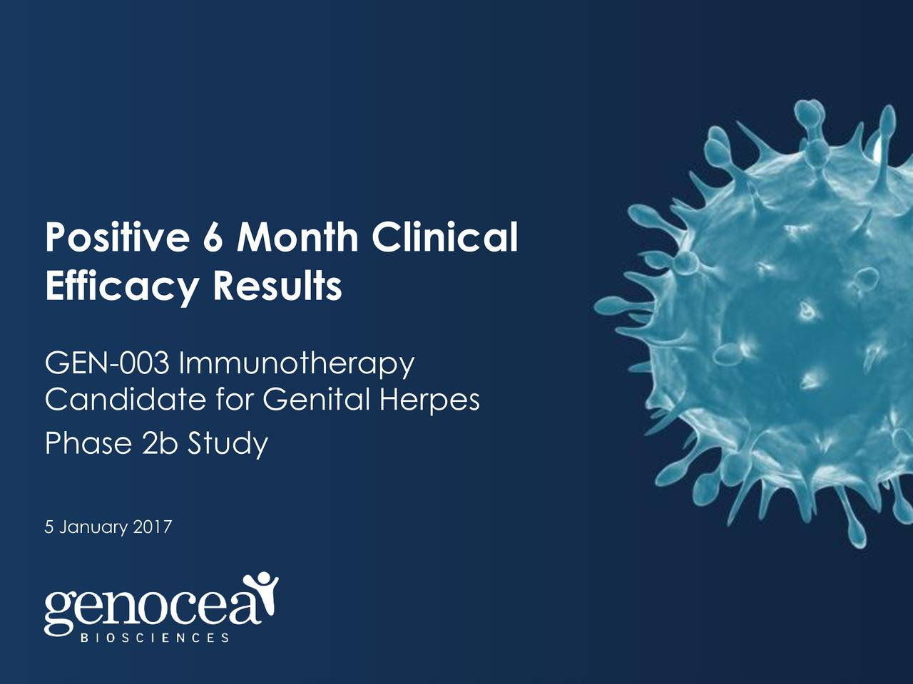 Efficacy Results GEN-003 Immunotherapy Candidate for Genital Herpes Phase 2b Study 5 January 2017