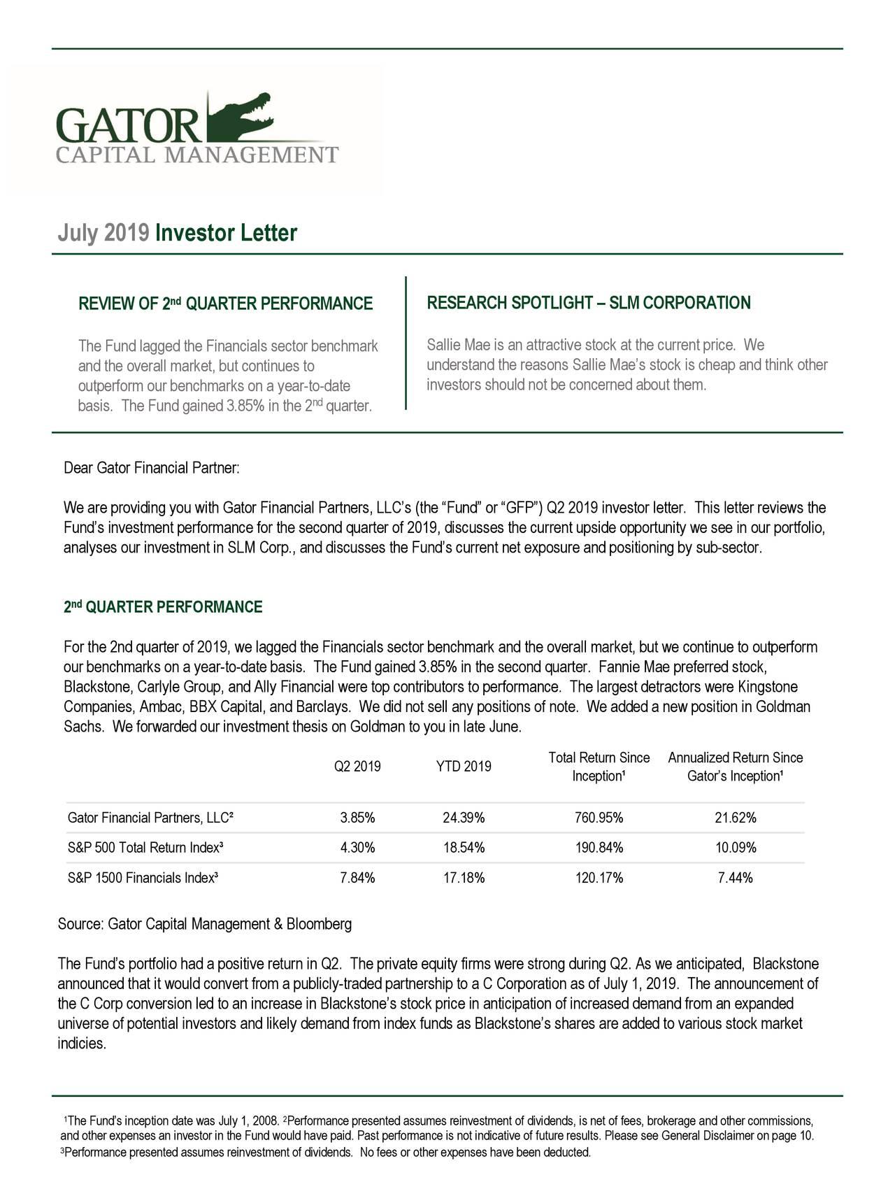 July 2019 Investor Letter