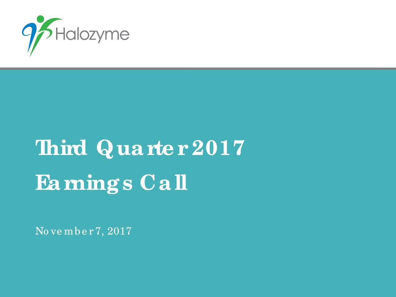Earnings Call November 7, 2017