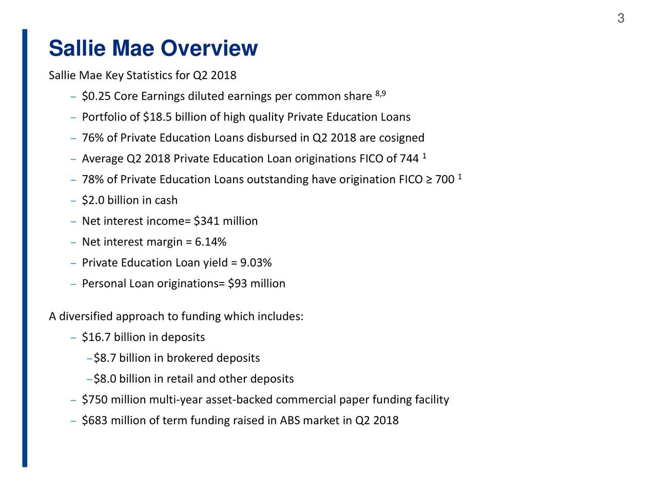 sallie mae overview sallie mae key statistics for q2 2018 025 core earnings diluted earnings