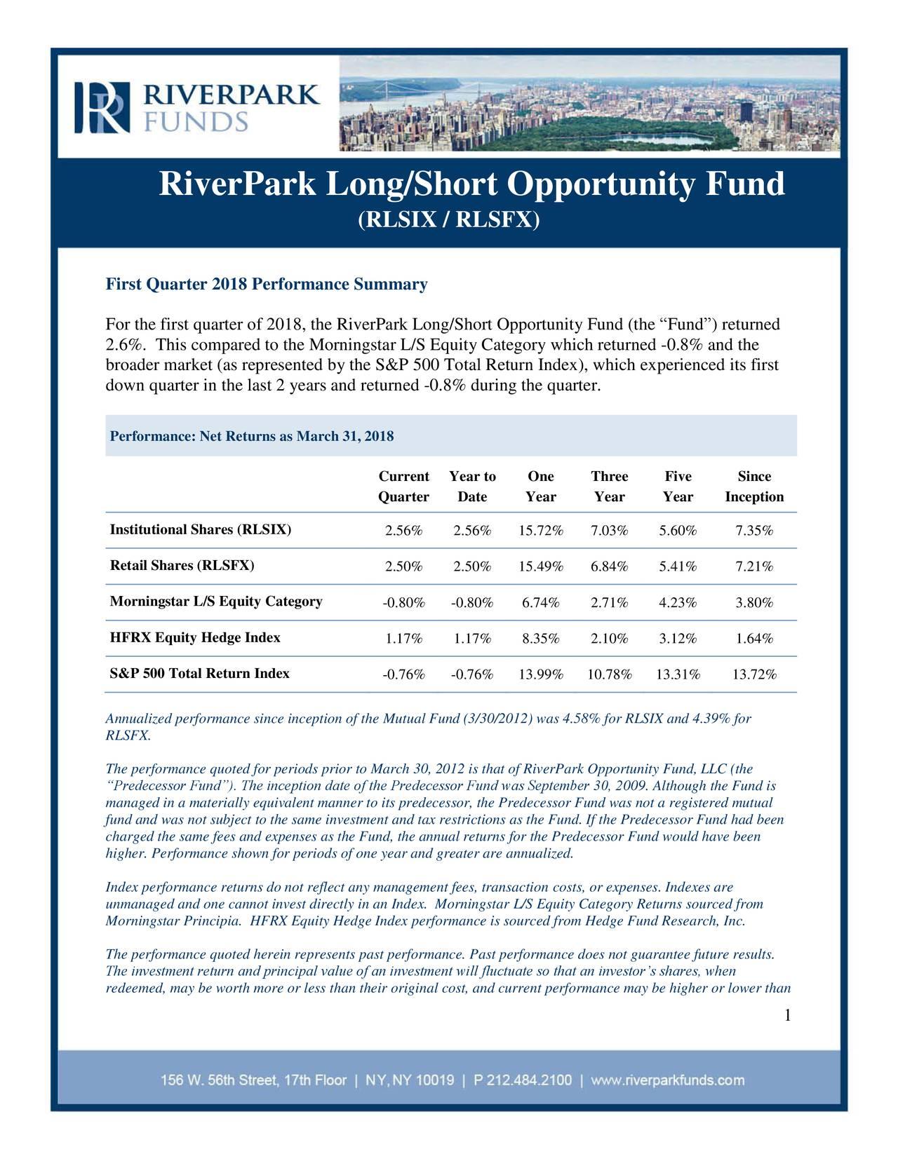 RiverPark Long/Short Opportunity Fund