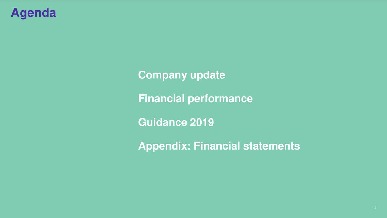 Company update Financial performance Guidance 2019 Appendix: Financial statements 3