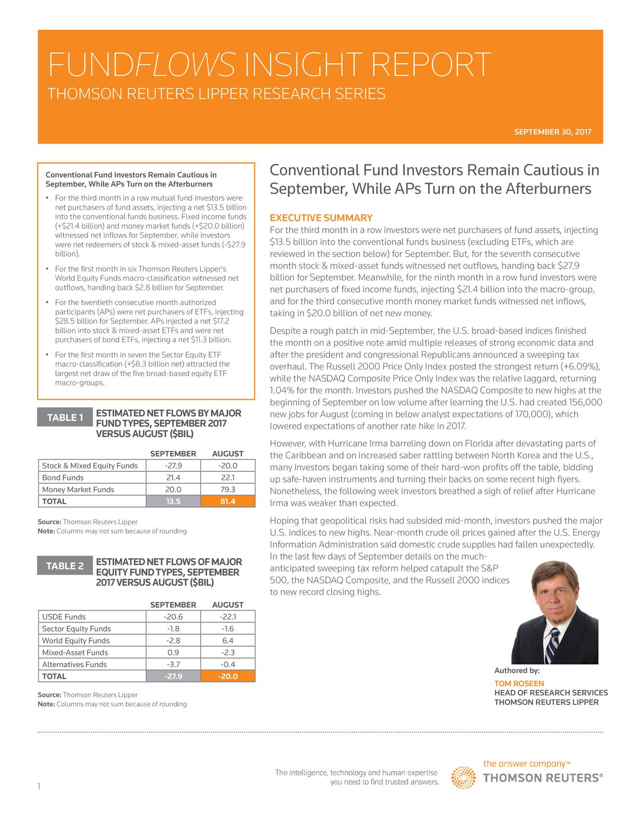 THOMSON REUTERS LIPPER RESEARCH SERIES SEPTEMBER 30, 2017 Conventional Fund Investors Remain Cautious in Conventional Fund Investors Remain Cautious in September, While APsTurn on the Afterburners September, While APsTurn on the Afterburners • For the third month in a row mutual fund investors were net purchasers of fund assets, injecting a net $13.5 billion into the conventional funds business. Fixed income fuEXECUTIVE SUMMARY (+$21.4 billion) and money market funds (+$20.0 billiFor the third month in a row investors were net purchasers of fund assets, injecting witnessed net inflows for September, while investors were net redeemers of stock & mixed-asset funds (-$27.93.5 billion into the conventional funds business (excluding ETFs, which are billion). reviewed in the section below) for September. But, for the seventh consecutive • For the first month in six Thomson Reuters Lipper's month stock & mixed-asset funds witnessed net outflows, handing back $27.9 billion for September. Meanwhile, for the ninth month in a row fund investors were World Equity Funds macro-classification witnessed net outflows, handing back $2.8 billion for September. net purchasers of fixed income funds, injecting $21.4 billion into the macro-group, • For the twentieth consecutive month authorized and for the third consecutive month money market funds witnessed net inflows, participants (APs) were net purchasers of ETFs, injectaking in $20.0 billion of net new money. $28.5 billion for September. APs injected a net $17.2 billion into stock & mixed-asset ETFs and were net Despite a rough patch in mid-September, the U.S. broad-based indices finished purchasers of bond ETFs, injecting a net $11.3 billion. the month on a positive note amid multiple releases of strong economic data and • For the first month in seven the Sector Equity ETF after the president and congressional Republicans announced a sweeping tax macro-classification (+$8.3 billion net) attracted thoverhaul. The Russell 2000 Price O