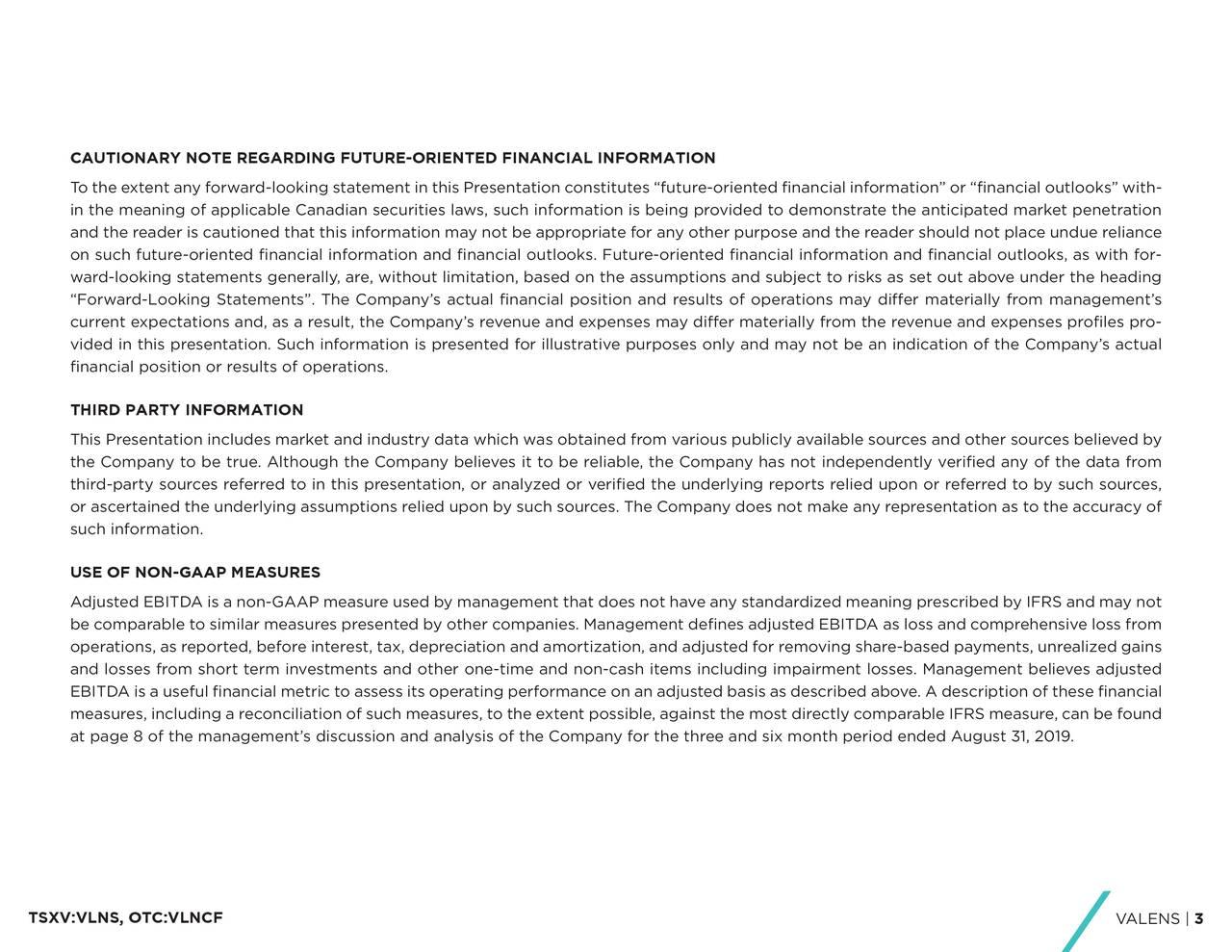 CAUTIONARY NOTE REGARDING FUTURE-ORIENTED FINANCIAL INFORMATION