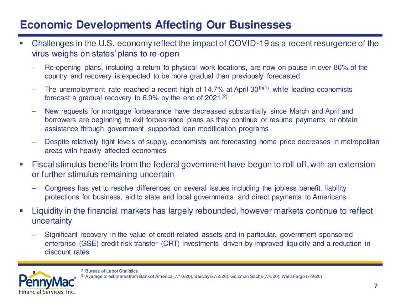 Desarrollos económicos que afectan a nuestros negocios
