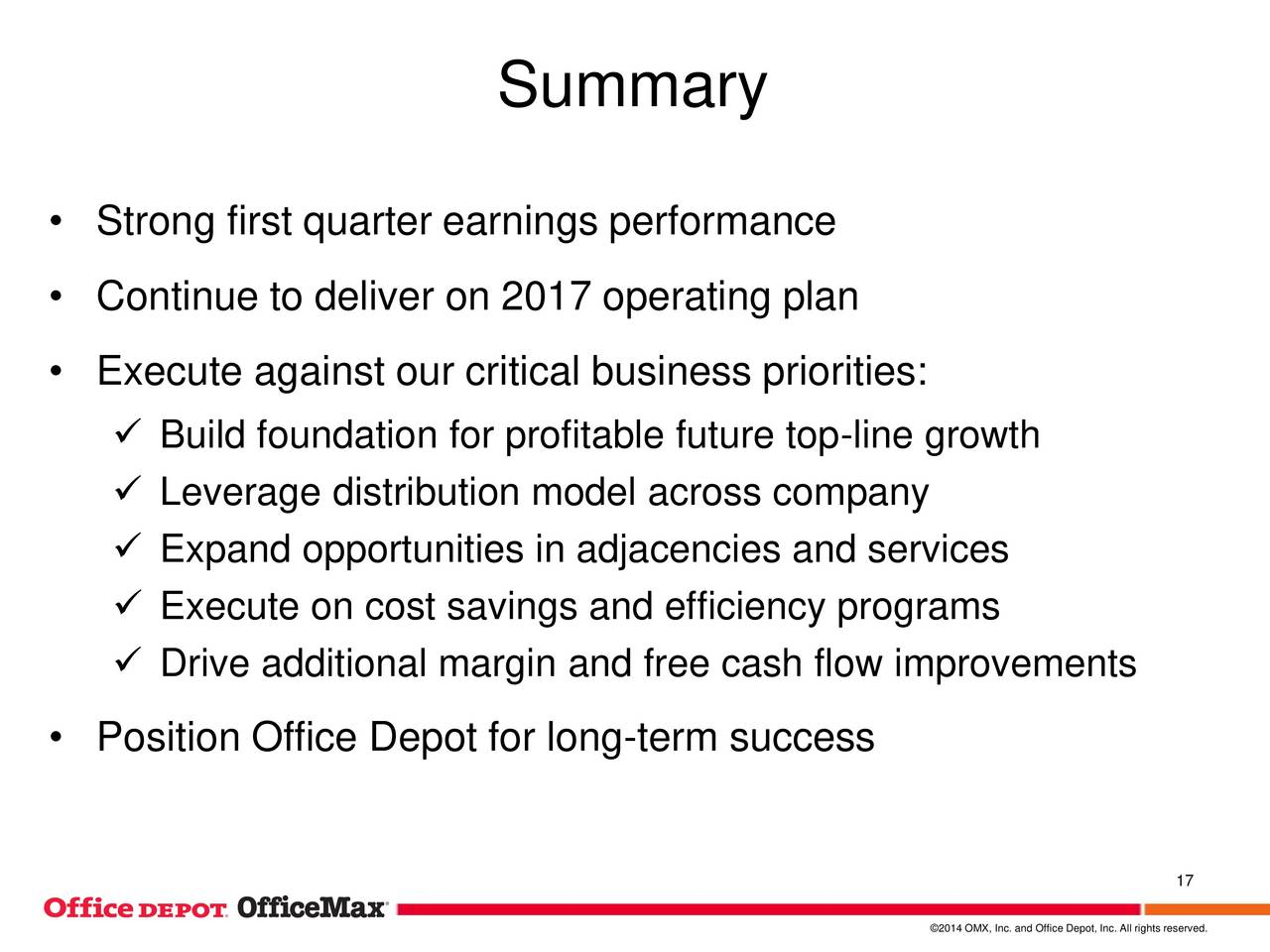 Office Depot Inc. 2017 Q1   Results   Earnings Call Slides   Office Depot  Inc. (NYSE:ODP) | Seeking Alpha