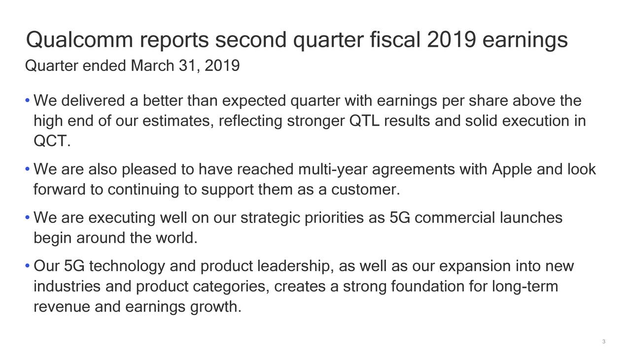 Quarter ended March 31, 2019 • We delivered a better than expected quarter with earnings per share above the high end of our estimates, reflecting stronger QTL results and solid execution in QCT. • We are also pleased to have reached multi-year agreements with Apple and look forward to continuing to support them as a customer. • We are executing well on our strategic priorities as 5G commercial launches begin around the world. • Our 5G technology and product leadership, as well as our expansion into new industries and product categories, creates a strong foundation for long-term revenue and earnings growth. 3