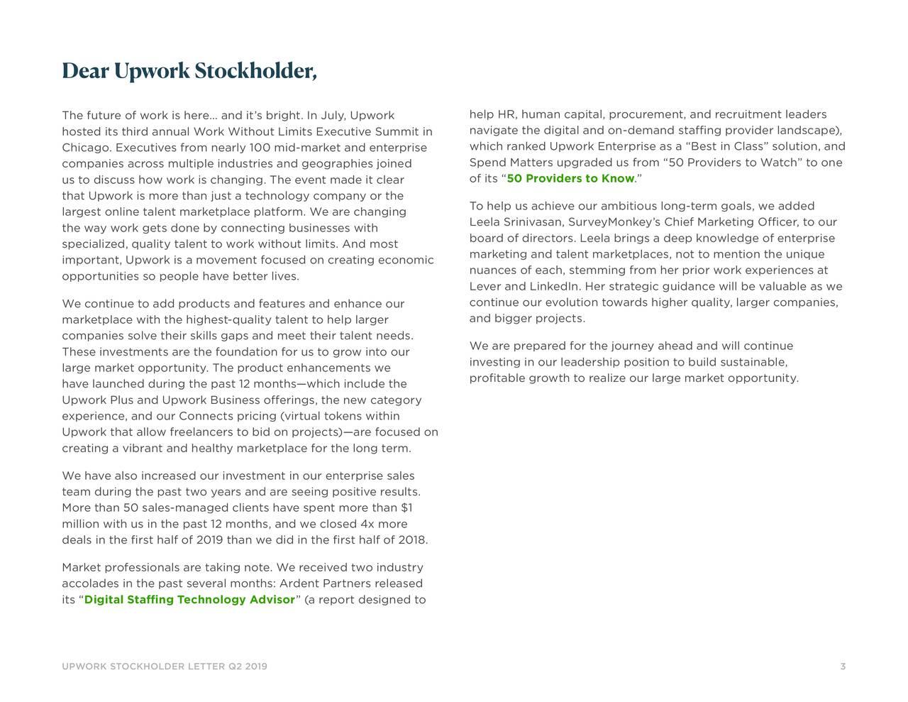 Dear Upwork Stockholder,