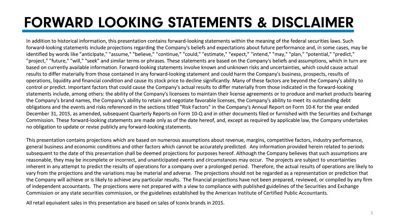 """In addition to historical information, this presentation contains forward-looking statements within the meaning of the federal securities laws. Such forward-looking statements include projections regarding the Company's beliefs and expectations about future performance and, in some cases, may be identified by words like """"anticipate,"""" """"assume,"""" """"believe,"""" """"continue,"""" """"could,"""" """"estimate,"""" """"expect,"""" """"intend,"""" """"may,"""" """"plan,"""" """"potential,"""" """"predict,"""" """"project,"""" """"future,"""" """"will,"""" """"seek"""" and similar terms or phrases. These statements are based on the Company's beliefs and assumptions, which in turn are based on currently available information. Forward-looking statements involve known and unknown risks and uncertainties, which co uld cause actual results to differ materially from those contained in any forward-looking statement and could harm the Company's business, prospe cts, results of operations, liquidity and financial condition and cause its stock price to decline significantly. Many of these factors are beyond the Company's ability to control or predict. Important factors that could cause the Company's actual results to differ materially from those indicated in the forward-looking statements include, among others: the ability of the Company's licensees to maintain their license agreements or to produce and market products bearing the Company's brand names, the Company's ability to retain and negotiate favorable licenses, the Company's ability to meet it s outstanding debt obligations and the events and risks referenced in the sections titled """"Risk Factors"""" in the Company's Annual Report on Form 10-K for the year ended December 31, 2015, as amended, subsequent Quarterly Reports on Form 10 -Q and in other documents filed or furnished with the Securities and Exchange Commission. These forward-looking statements are made only as of the date hereof, and, except as required by applicable law, the Company undertakes no obligation to update or revise publicly any forward-look"""