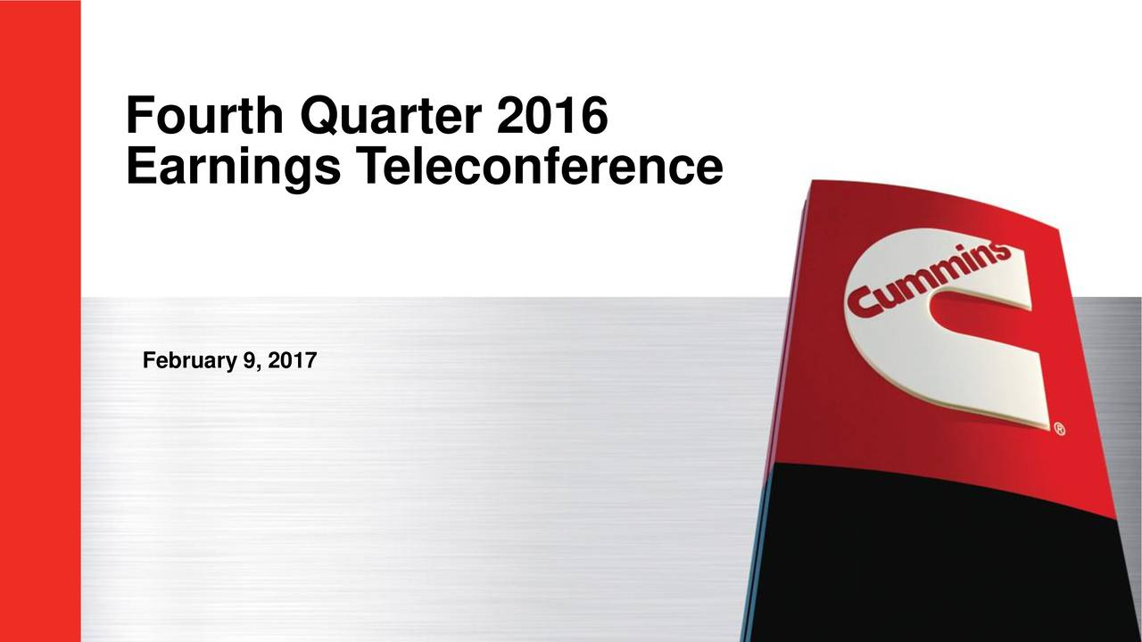 Earnings Teleconference February 9, 2017 1