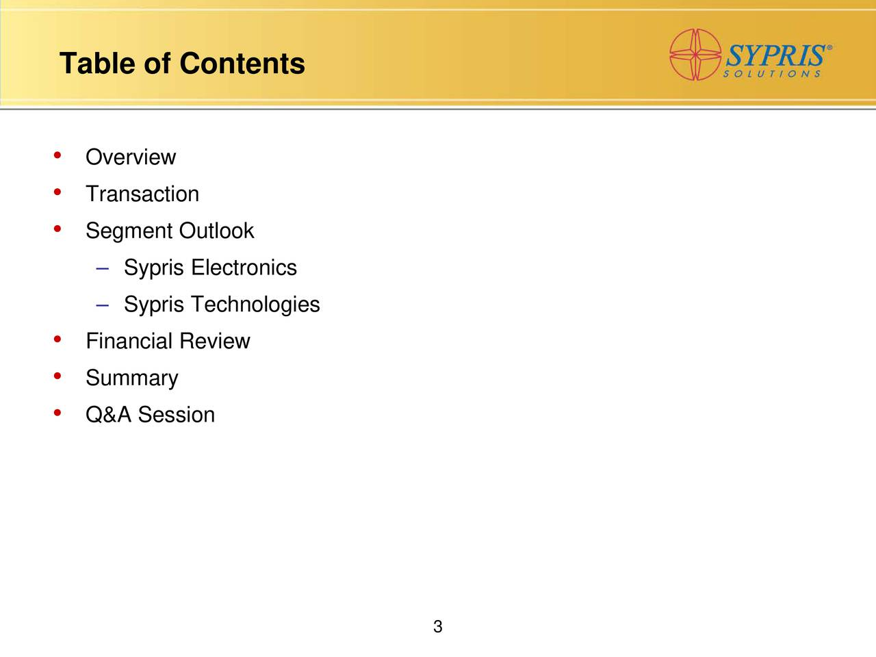 Overview Transaction Segment Outlook Sypris Electronics Sypris Technologies Financial Review Summary Q&A Session 3