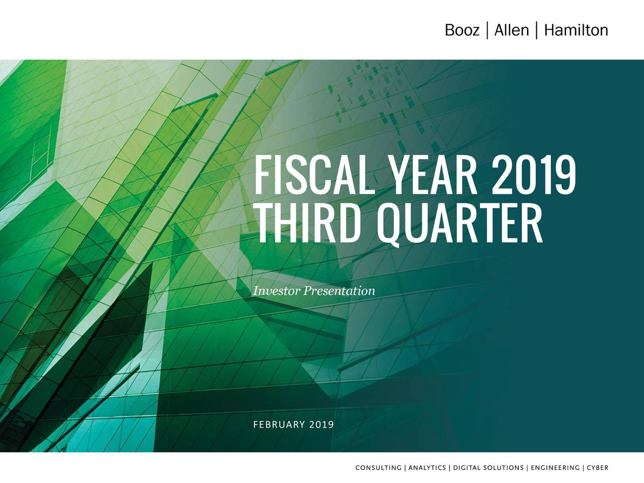 THIRD QUARTER Investor Presentation FEBRUARY 2019