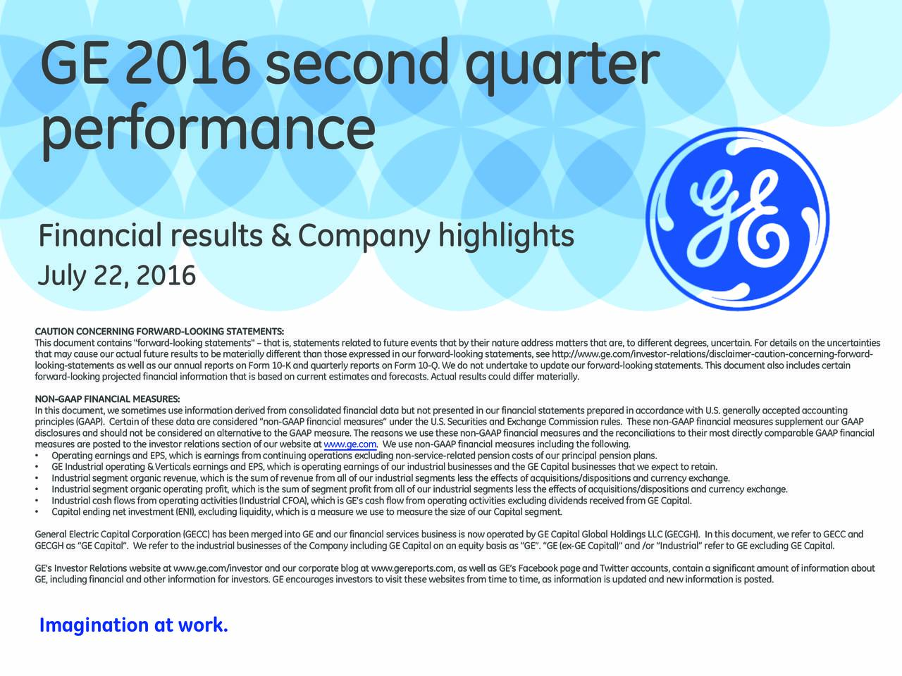 General Electric Company 2016 Q2 - Results - Earnings Call Slides ...