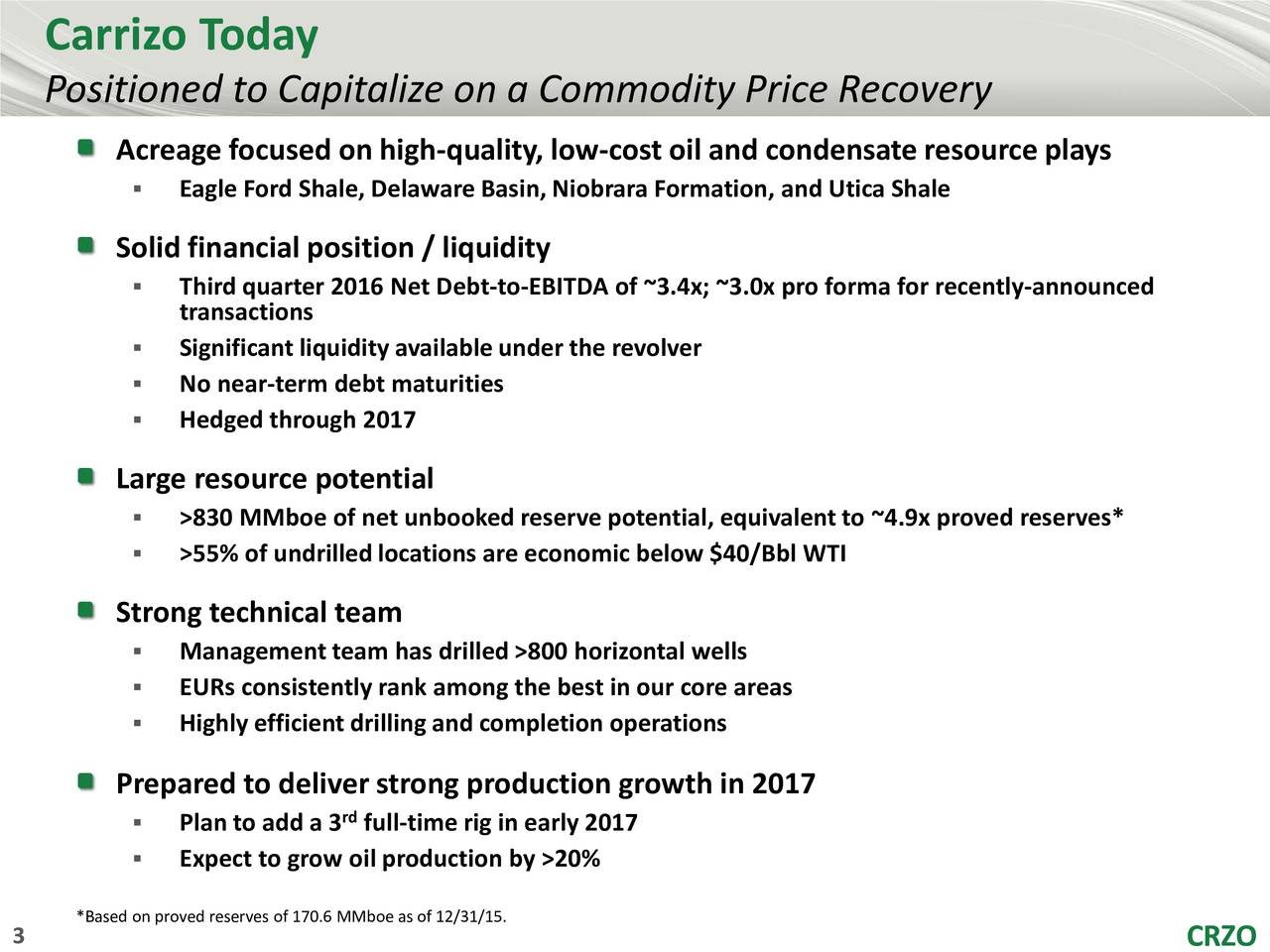Positioned to Capitalize on a Commodity Price Recovery Acreage focused on high-quality, low-cost oil and condensate resource plays Eagle Ford Shale, Delaware Basin, Niobrara Formation, and Utica Shale Solid financial position / liquidity Third quarter 2016 Net Debt-to-EBITDA of ~3.4x; ~3.0x pro forma for recently-announced transactions Significant liquidity available under the revolver No near-term debt maturities Hedged through 2017 Large resource potential >830 MMboe of net unbooked reserve potential, equivalent to ~4.9x proved reserves* >55% of undrilledlocations are economic below $40/Bbl WTI Strong technical team Management team has drilled >800 horizontal wells EURs consistently rank among the best in our core areas Highly efficient drilling and completion operations Prepared to deliver strong production growth in 2017 Plan to add a 3 full-time rig in early 2017 Expect to grow oil production by >20% *Based on proved reserves of 170.6MMboe as of 12/31/15.