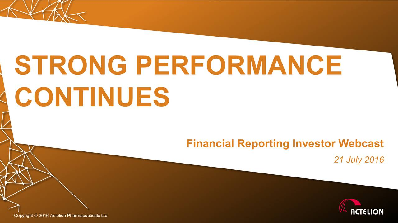 CONTINUES Financial Reporting Investor Webcast 21 July 2016