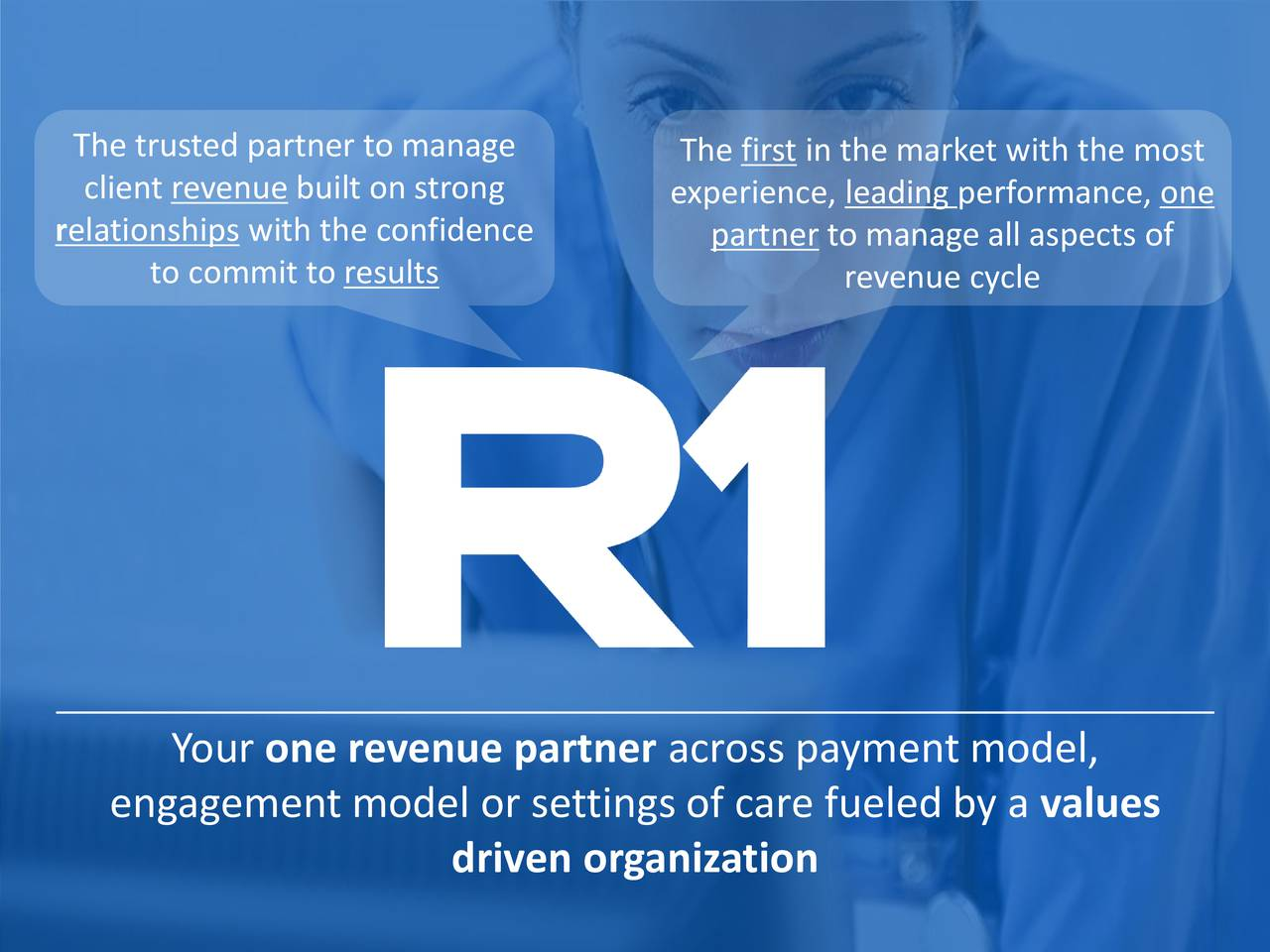 client revenue built on strong experience, leading performance, one relationships with the confidence partner to manage all aspects of to commit to results revenue cycle Your one revenue partner across payment model, engagement model or settings of care fueled by a values driven organization 3