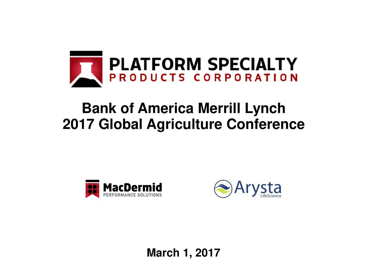 2017 Global Agriculture Conference March 1, 2017