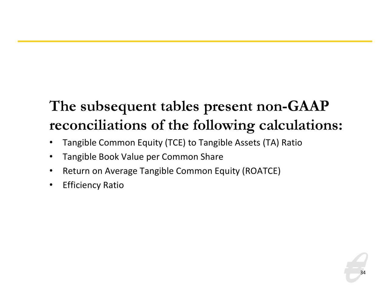 Las tablas siguientes presentan no GAAP