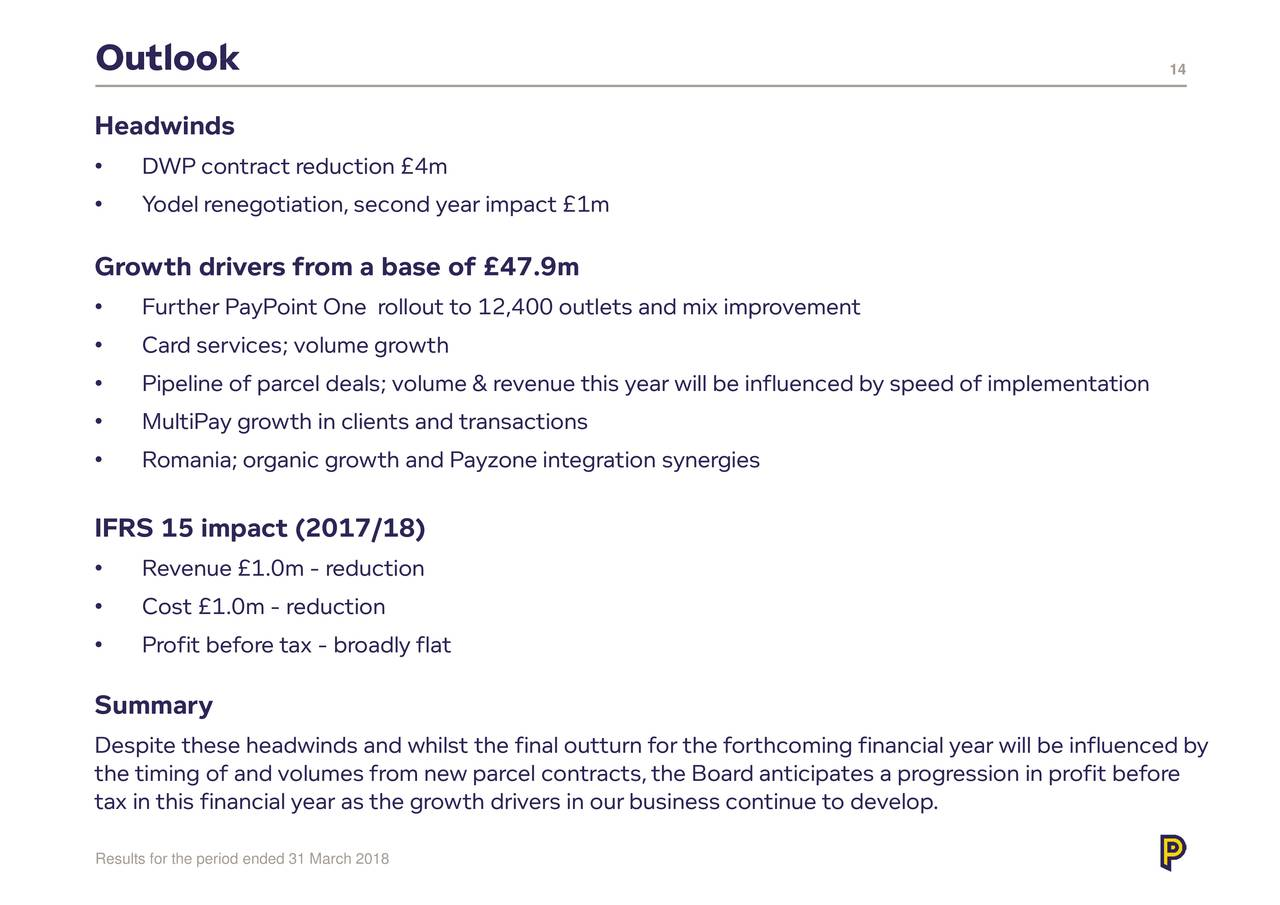 Paypoint Plc ADR 2018 Q4 - Results - Earnings Call Slides