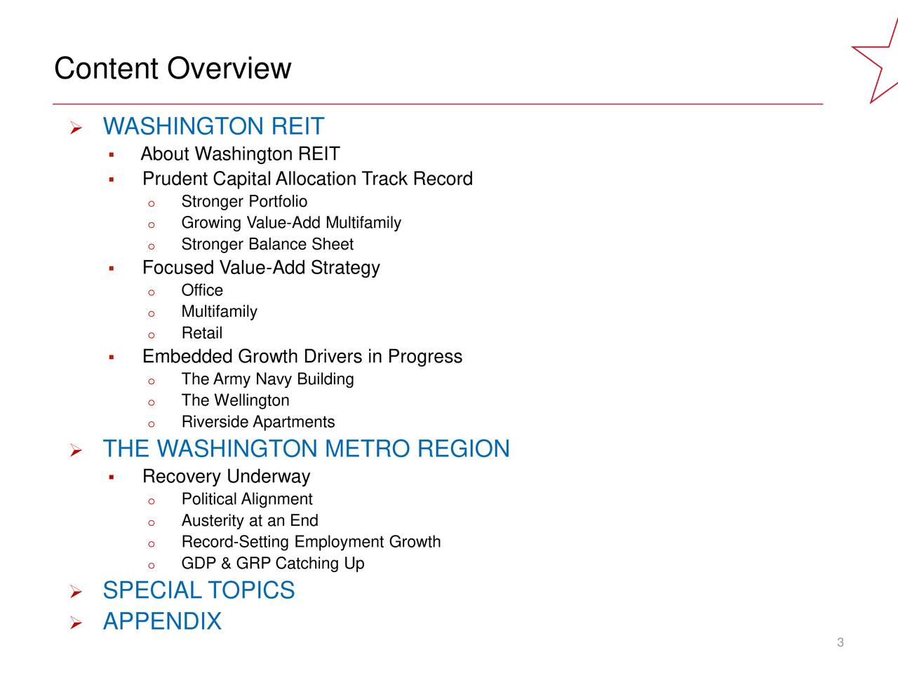 Content Overview 0, 0, 0 WASHINGTON REIT About Washington REIT 190, 30, 45  Prudent Capital Allocation Track Record o Stronger Portfolio o Growing Value-Add Multifamily o Stronger Balance Sheet 99, 100, 102  Focused Value-Add Strategy o Office o Multifamily ACCENT o Retail COLORS Embedded Growth Drivers in Progress o The Army Navy Building o The Wellington o Riverside Apartments 114, 7, 17 THE WASHINGTON METRO REGION Recovery Underway o Political Alignment 232, 203, 31 o Austerity at an End o Record-Setting Employment Growth o GDP & GRP Catching Up 13, 80, 114 SPECIAL TOPICS APPENDIX 9, 107, 178