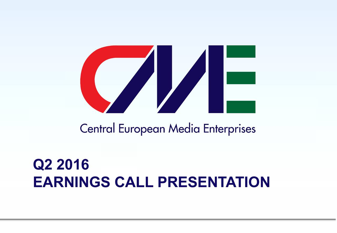 EARNINGS CALL PRESENTATION