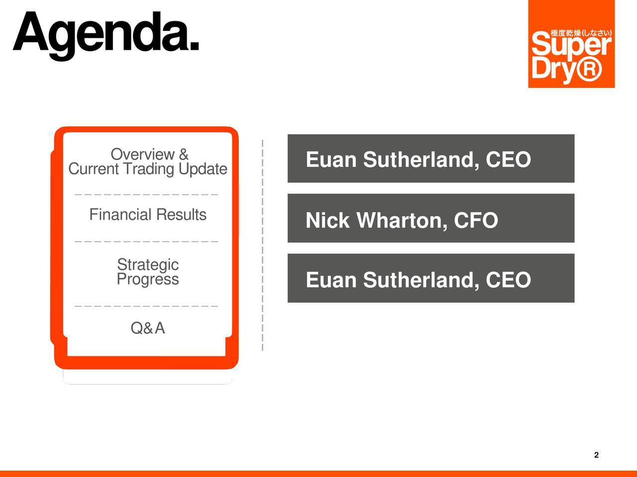 Current Trading Update Euan Sutherland, CEO FinancialResults Nick Wharton, CFO Strategic Progress Euan Sutherland, CEO Q&A 2