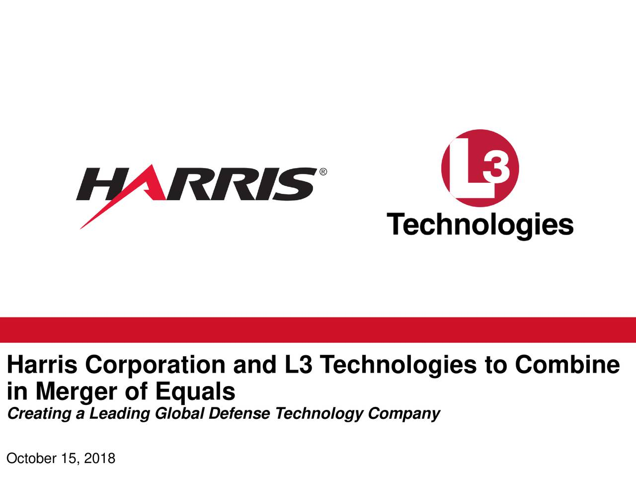Harris (HRS) And L3 Technologies (LLL) To Merge - Slideshow