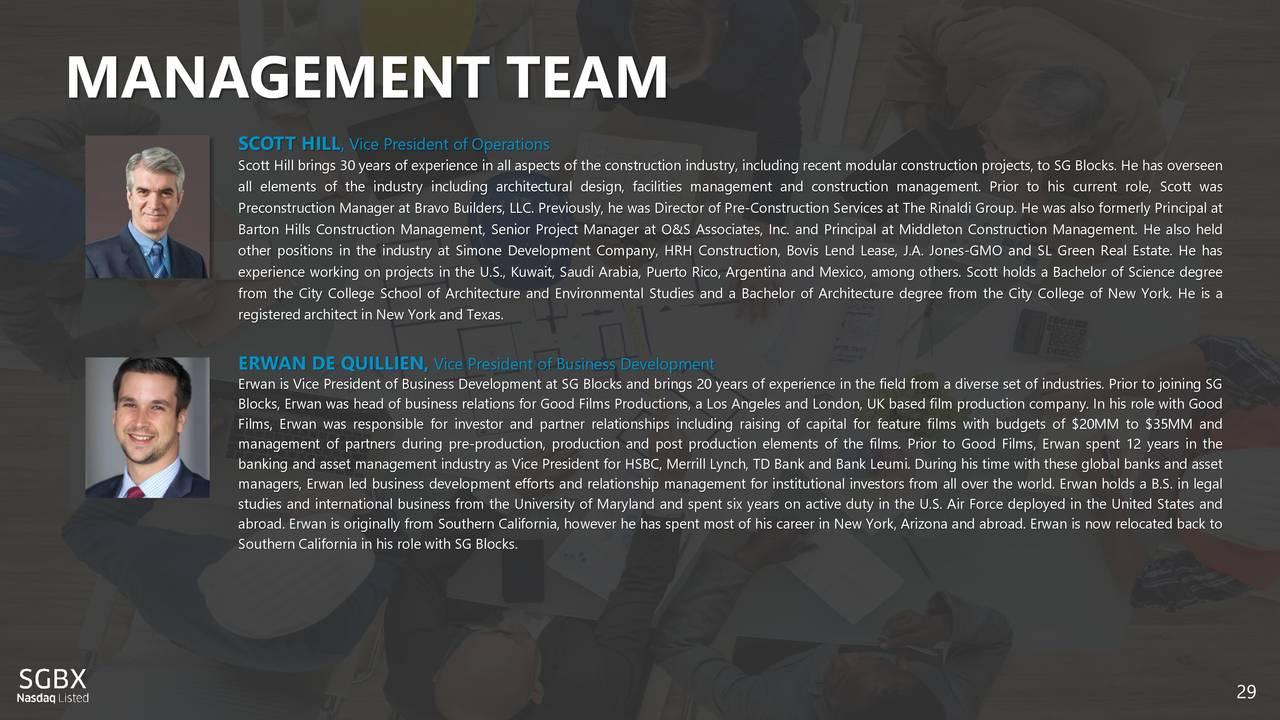 Earnings Disclaimer >> SG Blocks (SGBX) Investor Presentation - Slideshow - SG ...