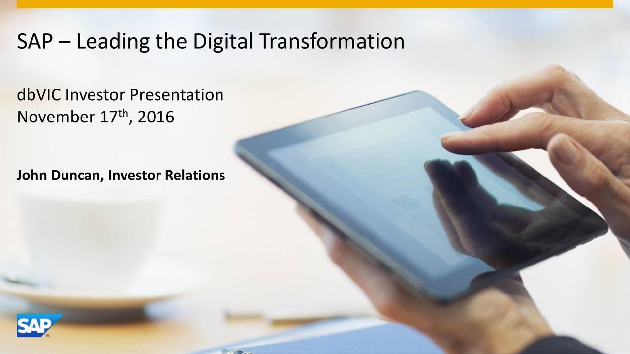 dbVIC Investor Presentation th November 17 , 2016 John Duncan, Investor Relations 1